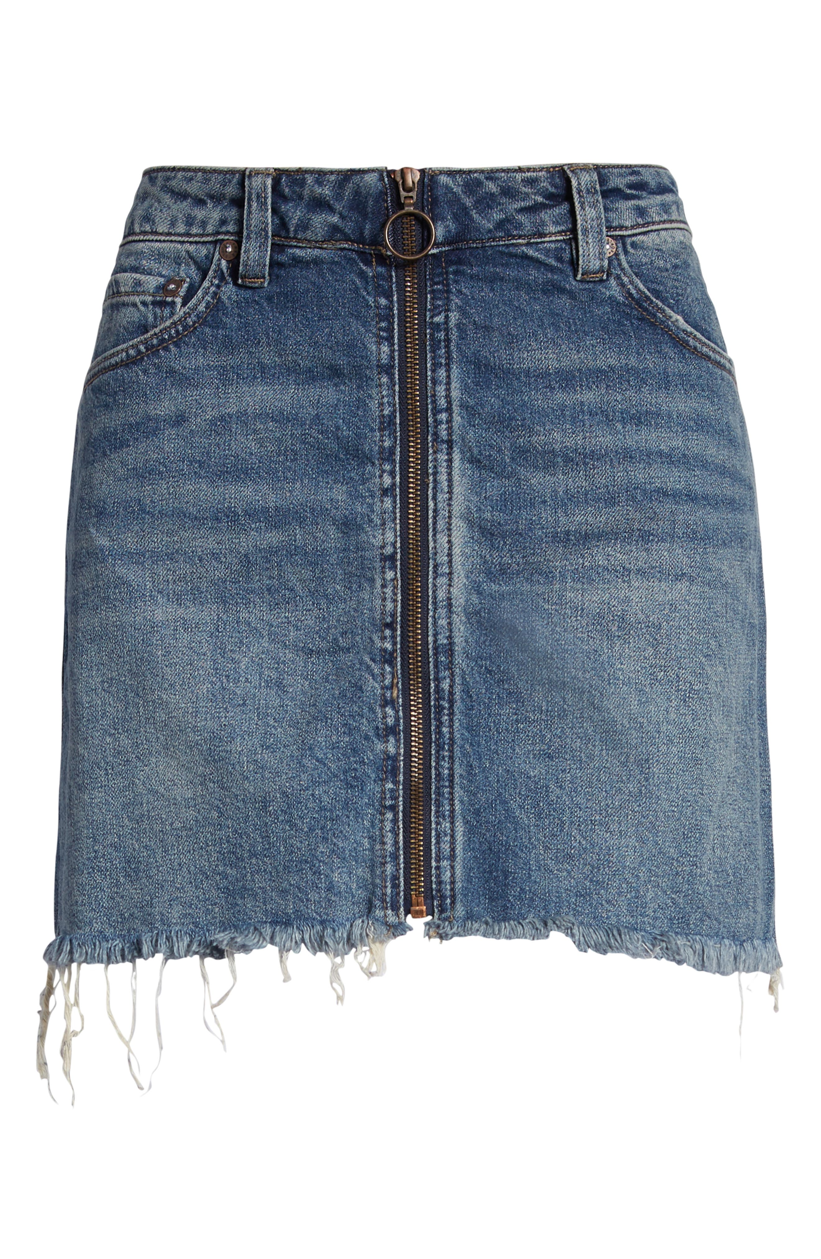 FREE PEOPLE, We the Free by Free People Zip It Up Denim Miniskirt, Alternate thumbnail 7, color, BLUE