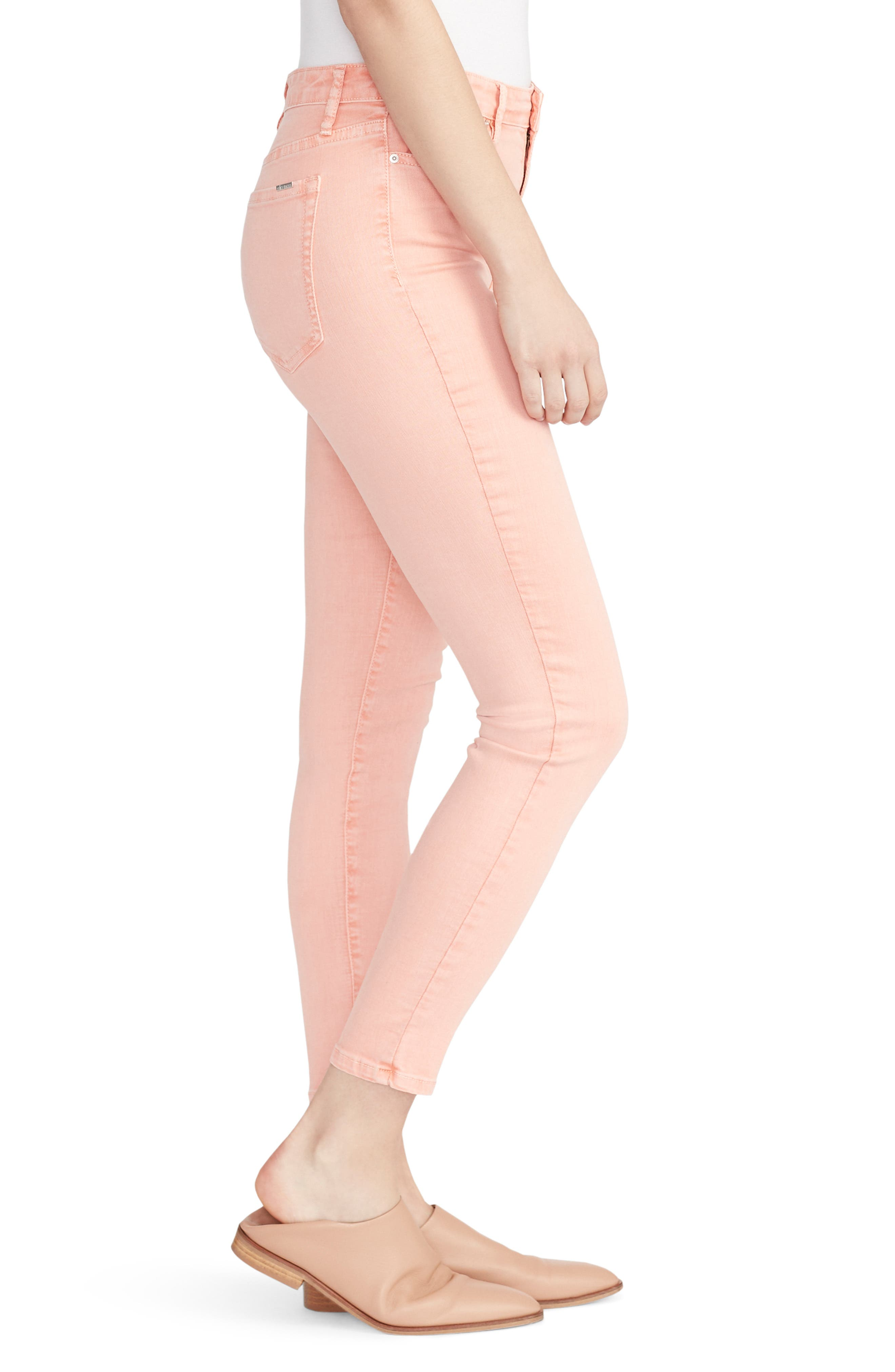 ELLA MOSS, High Waist Ankle Skinny Jeans, Alternate thumbnail 3, color, PEACH BUD