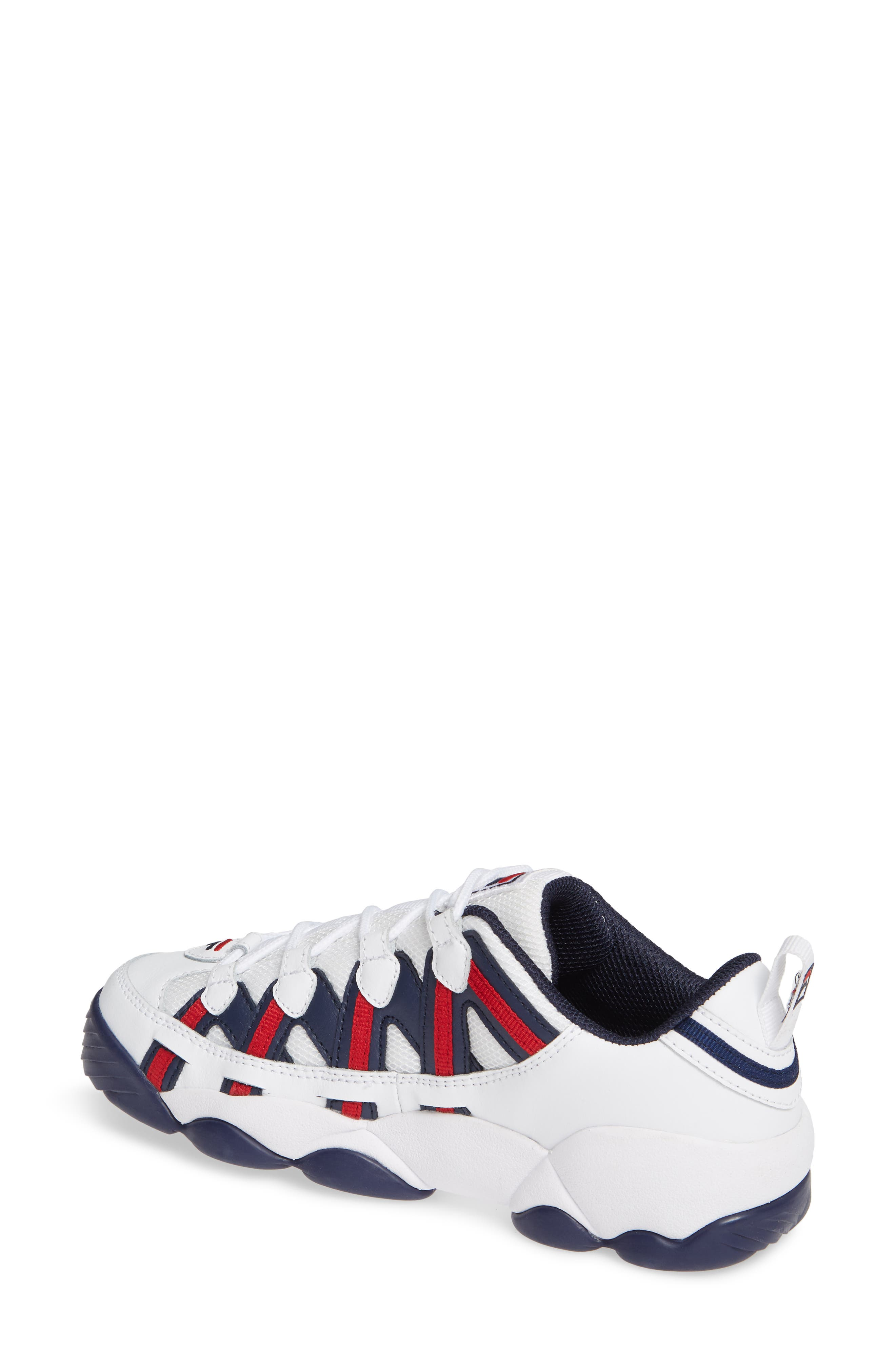 FILA, Spaghetti Low Sneaker, Alternate thumbnail 2, color, WHITE/ FILA NAVY/ FILA RED