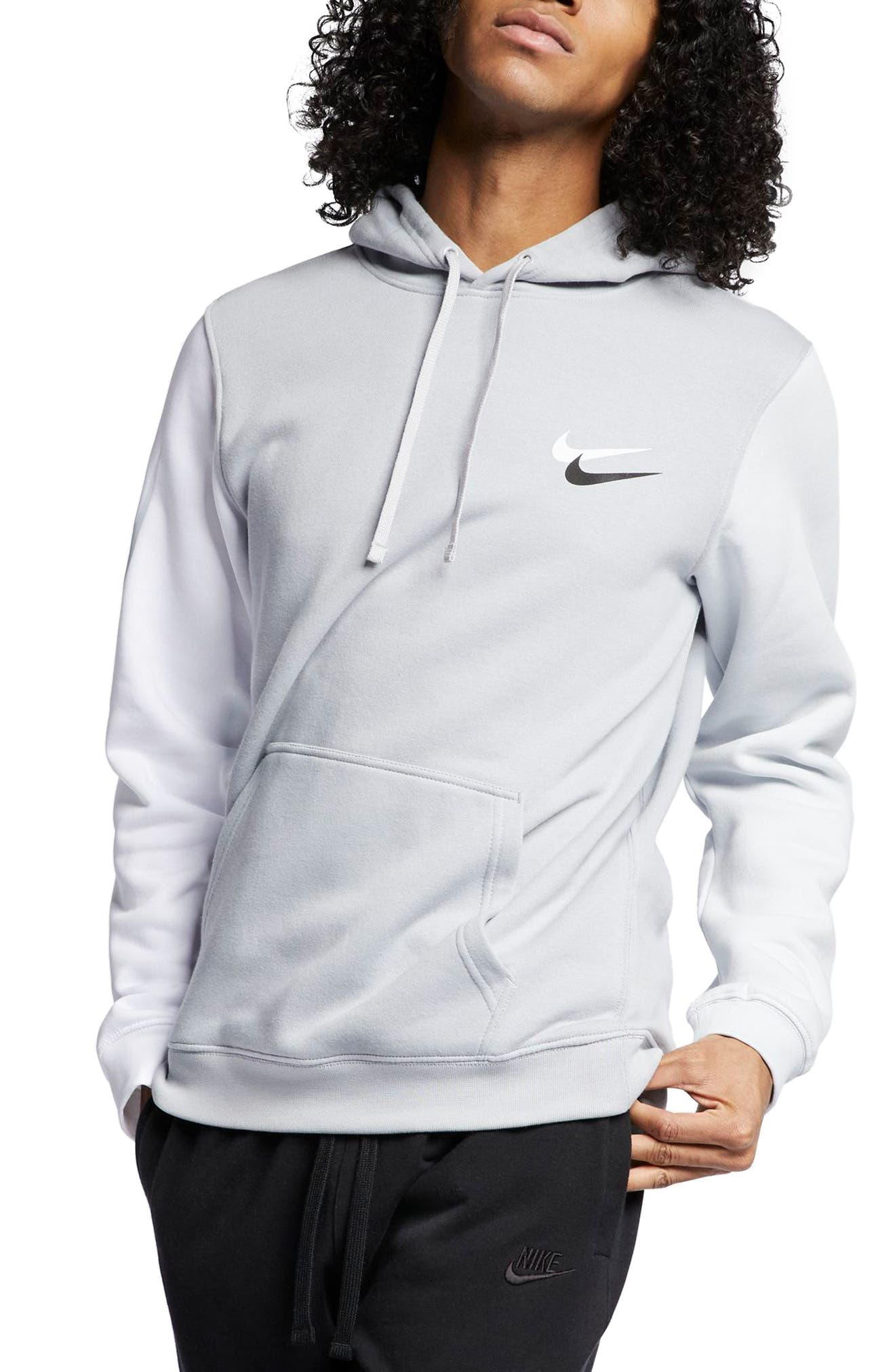 NIKE, Sportswear City Brights Club Men's Pullover Hoodie, Main thumbnail 1, color, WOLF GREY/ WHITE/ PLATINUM