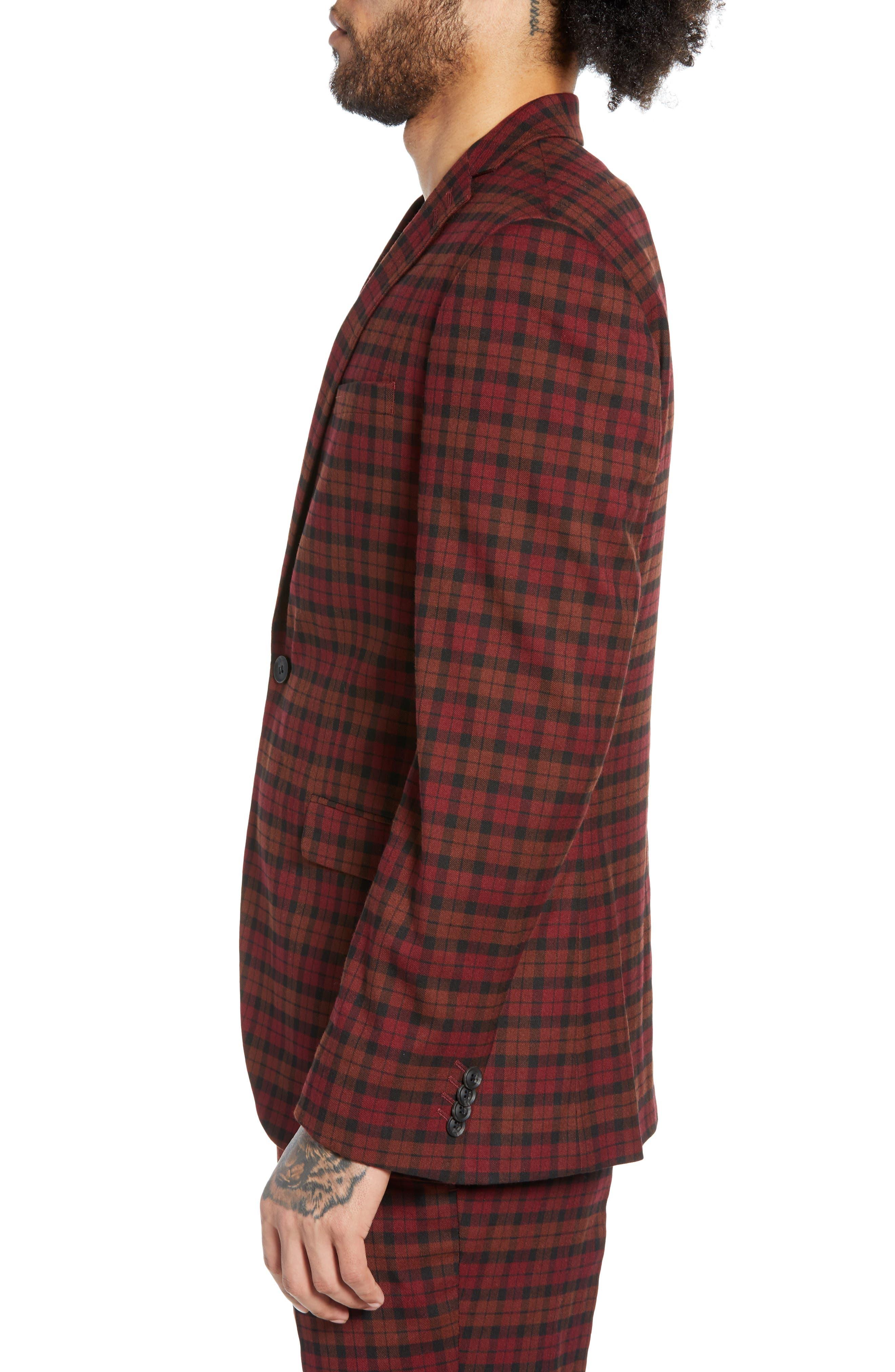 TOPMAN, Thorn Slim Fit Suit Jacket, Alternate thumbnail 4, color, 600