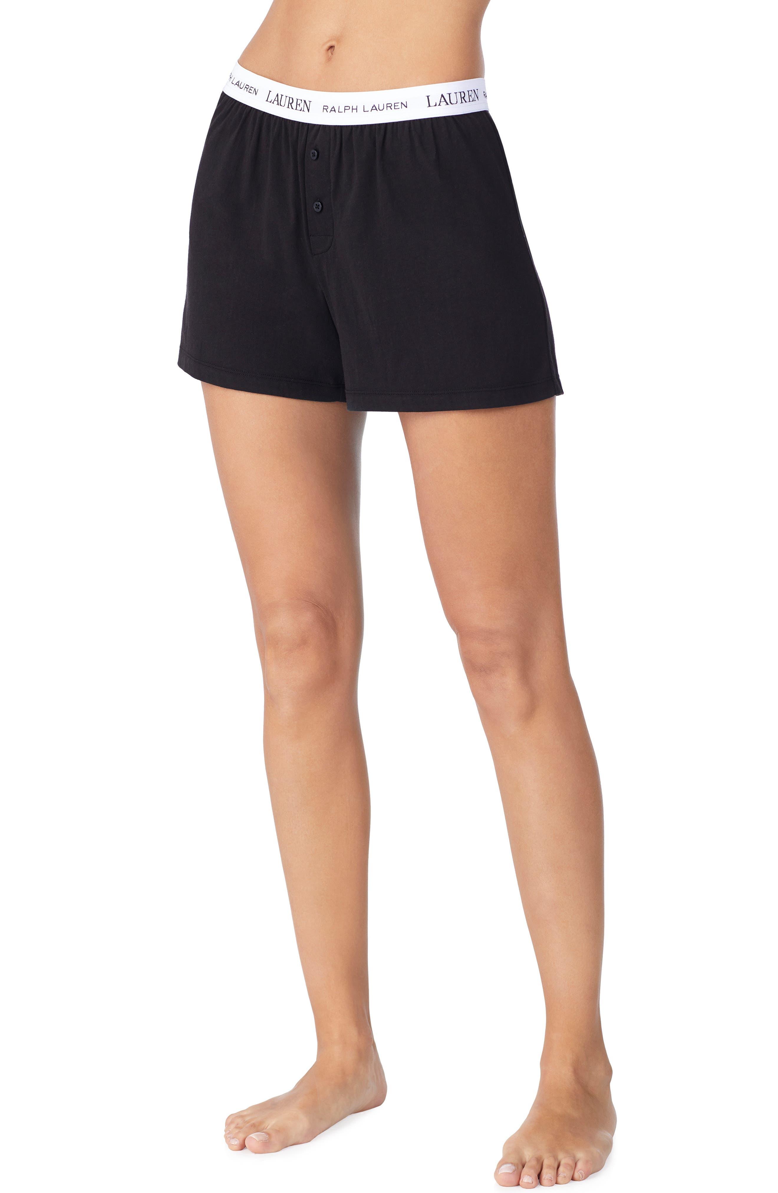 LAUREN RALPH LAUREN, Logo Elastic Boxer Lounge Shorts, Main thumbnail 1, color, BLACK