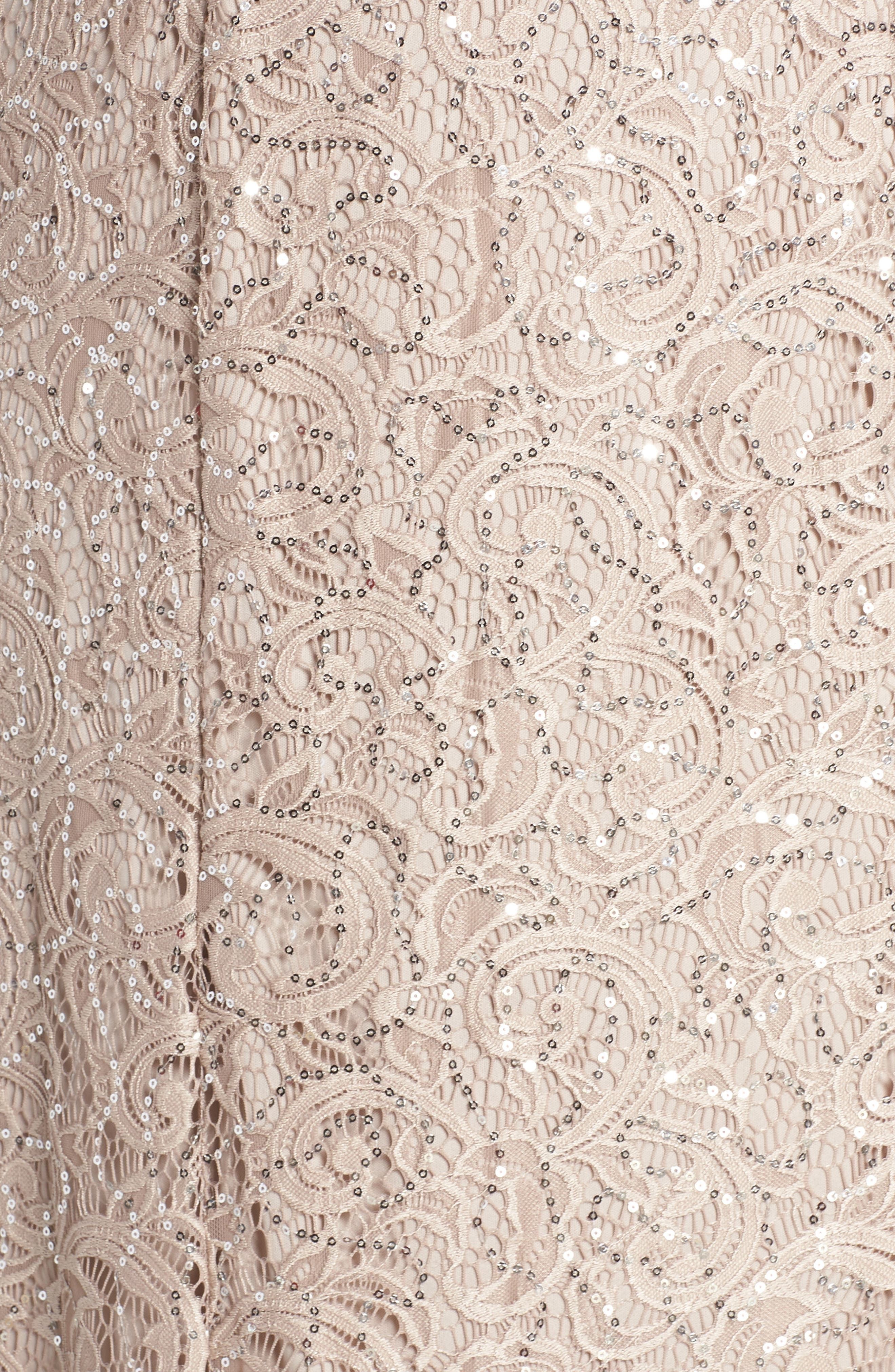 ALEX EVENINGS, Lace & Sequin Jacket Dress, Alternate thumbnail 5, color, BUFF