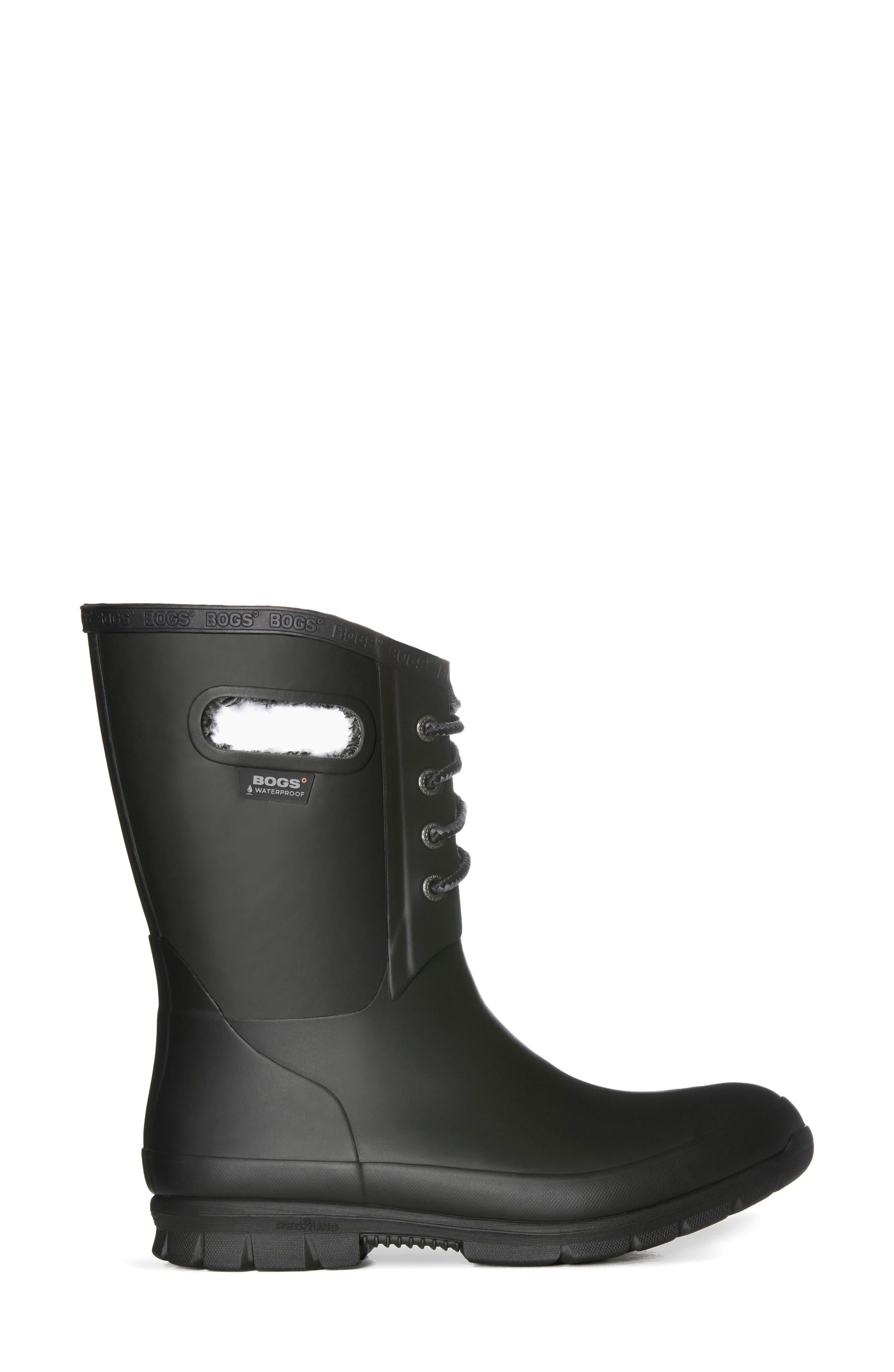 BOGS, Amanda Plush Waterproof Rain Boot, Alternate thumbnail 3, color, 001