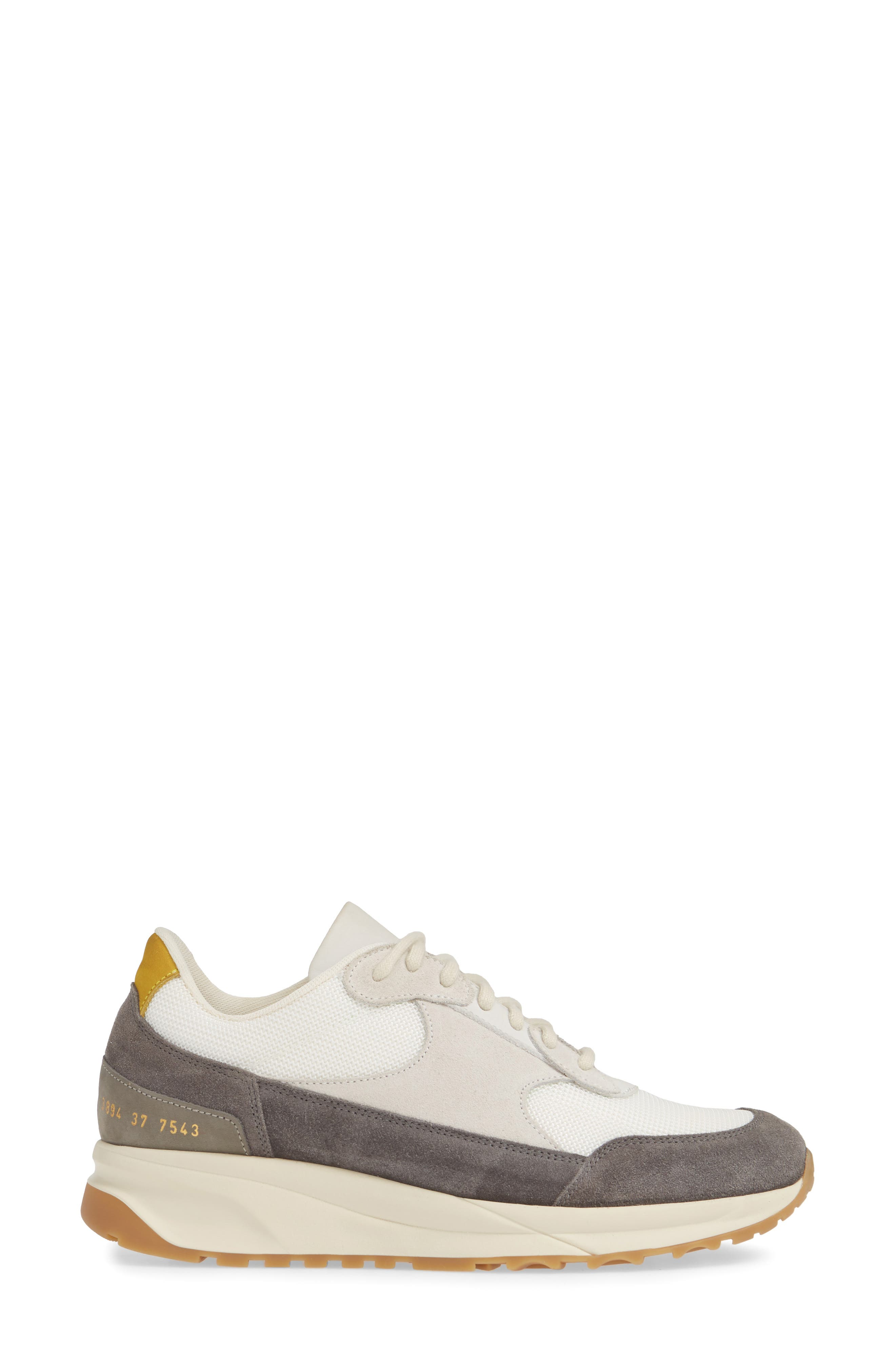 COMMON PROJECTS, New Track Sneaker, Alternate thumbnail 3, color, WHITE/ GREY
