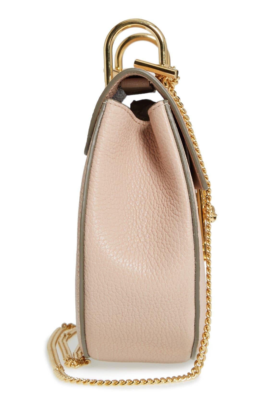 CHLOÉ, Drew Leather Shoulder Bag, Alternate thumbnail 6, color, 650