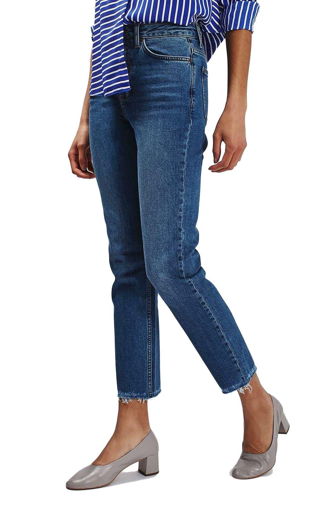 TOPSHOP, Raw Hem Straight Leg Jeans, Main thumbnail 1, color, 401
