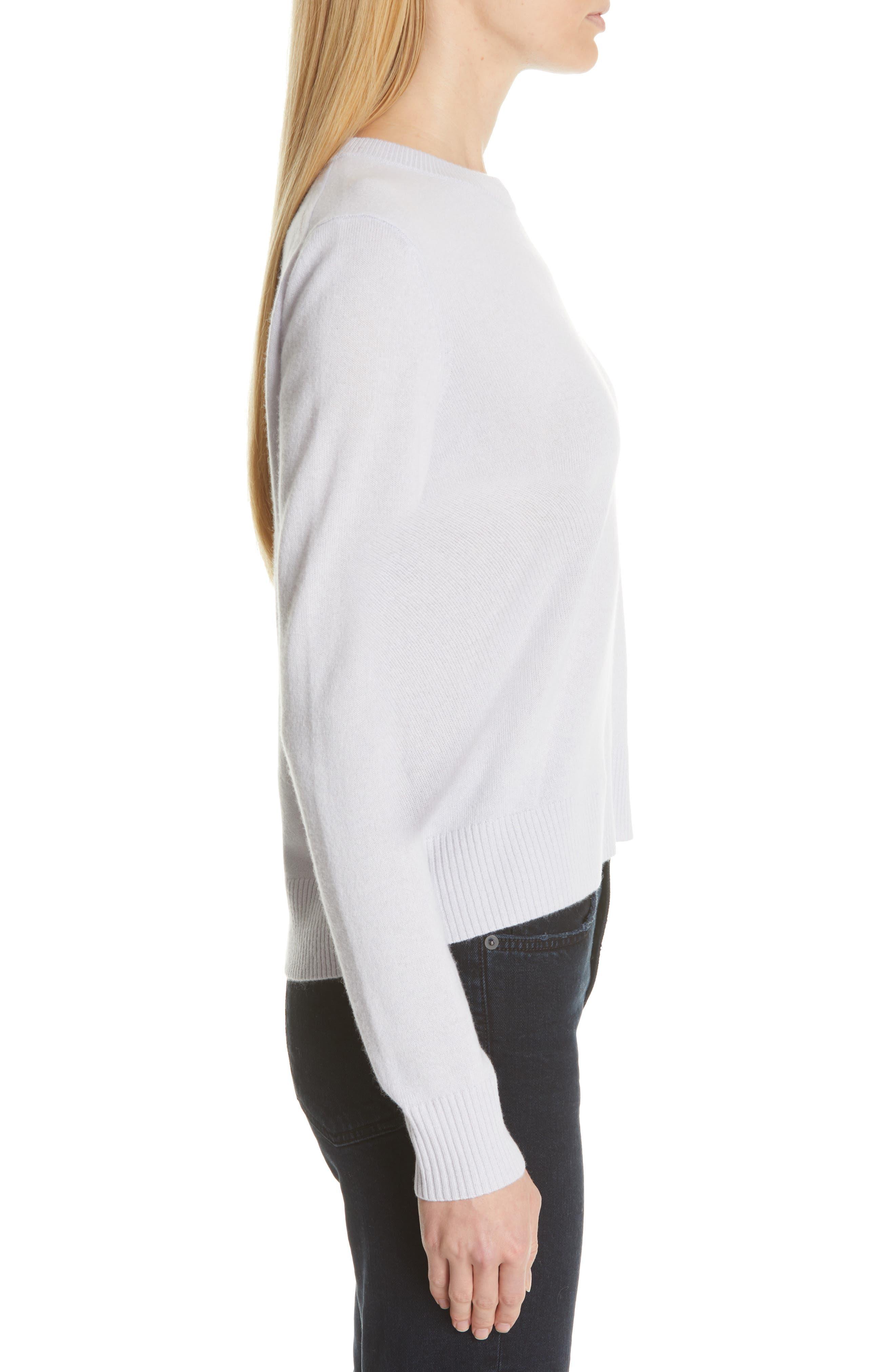 PROENZA SCHOULER, Cashmere Sweater, Alternate thumbnail 3, color, BLUE GREY