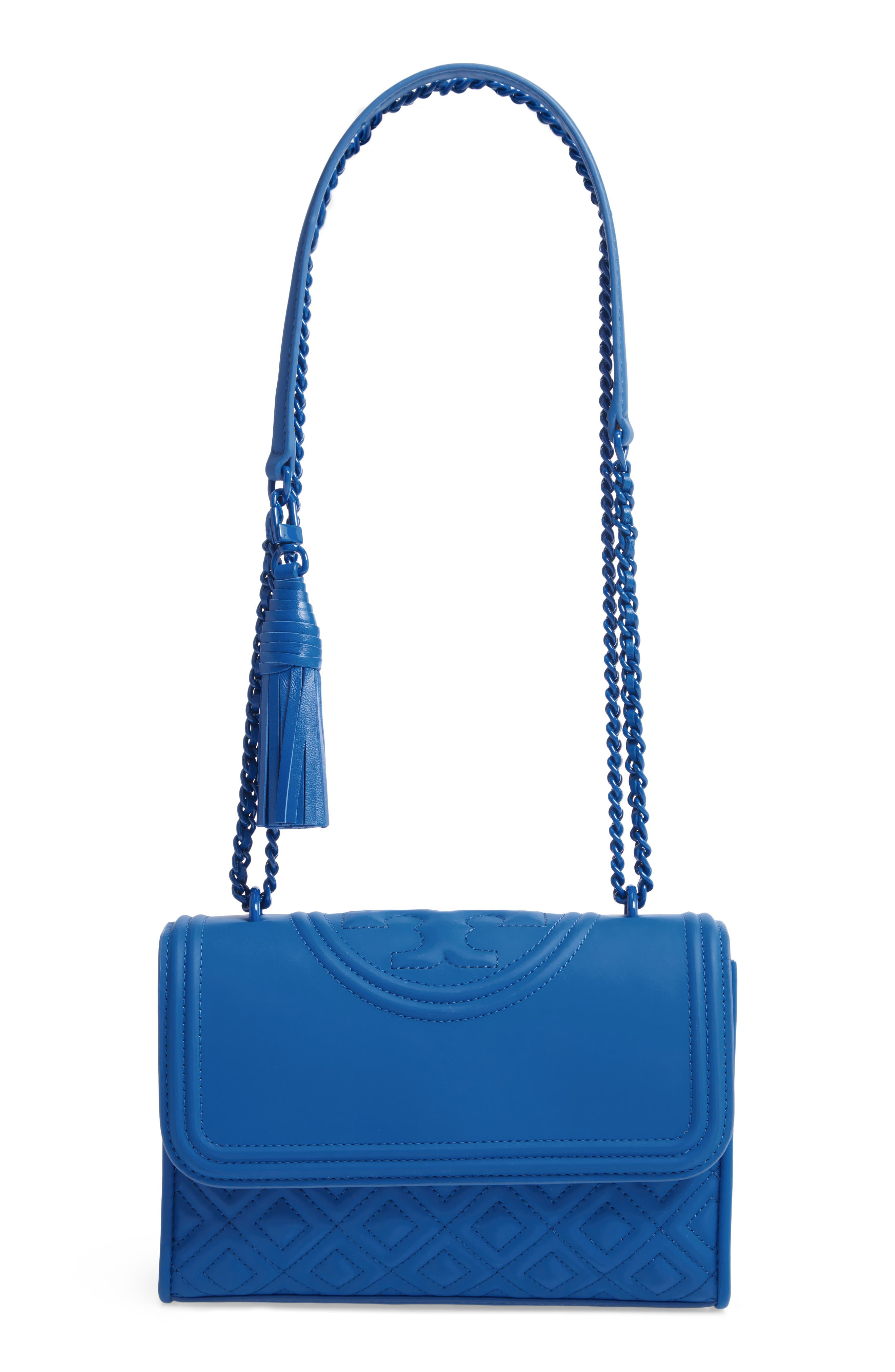 TORY BURCH, Small Fleming Matte Quilted Shoulder Bag, Main thumbnail 1, color, MEDITERRANEAN BLUE