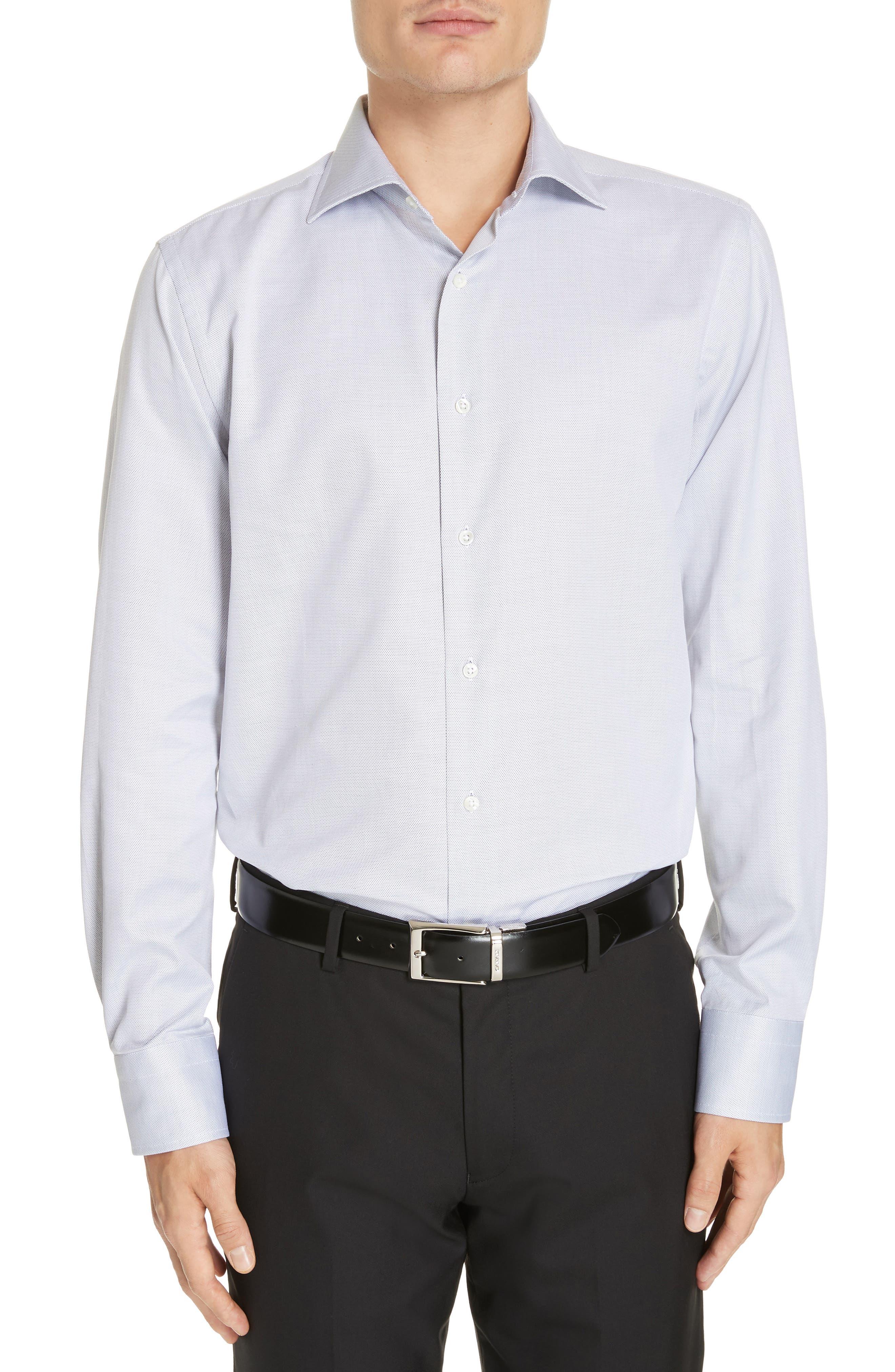 CANALI, Regular Fit Print Dress Shirt, Main thumbnail 1, color, GREY
