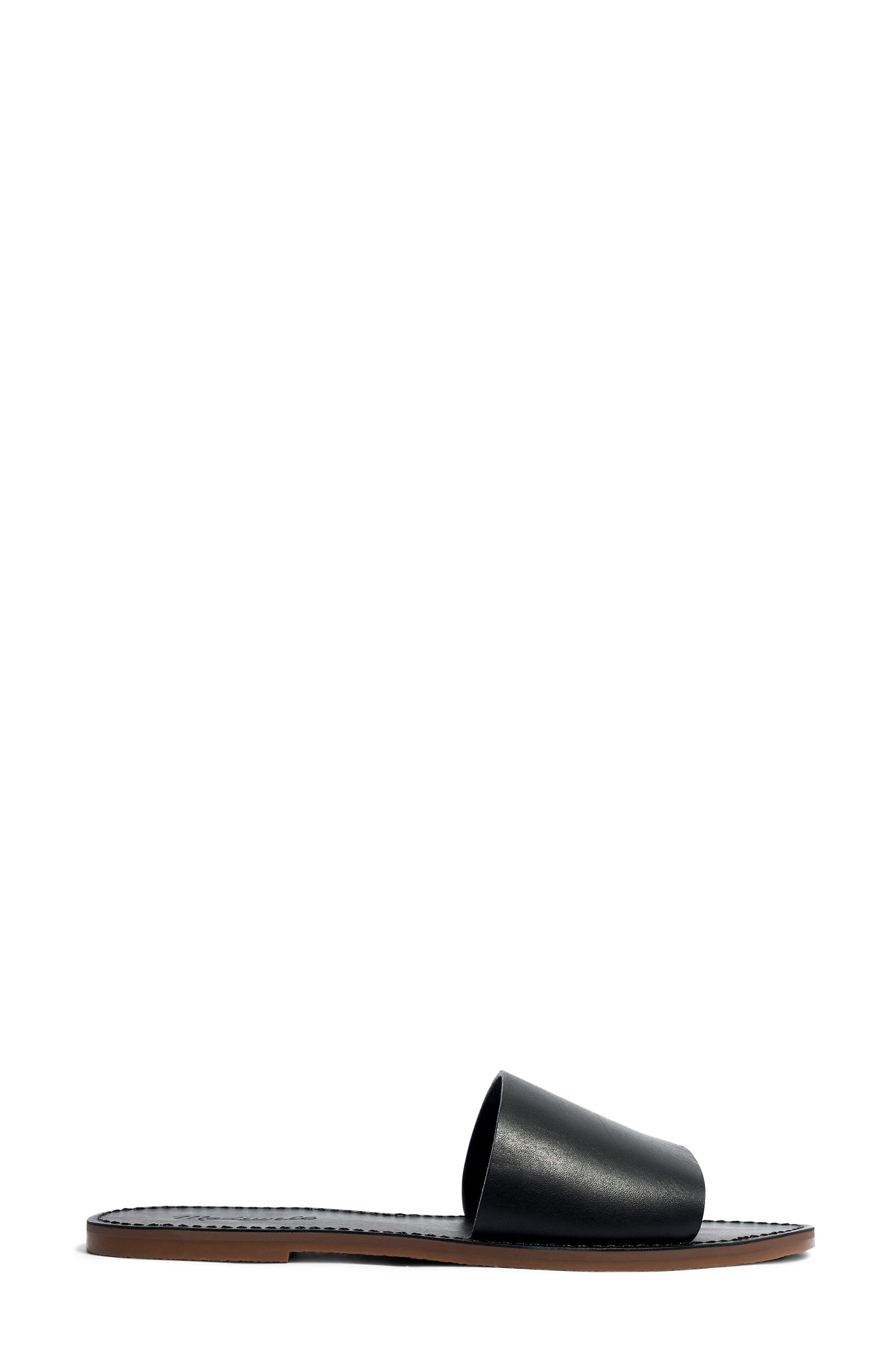 MADEWELL, Boardwalk Post Slide Sandal, Alternate thumbnail 3, color, TRUE BLACK LEATHER
