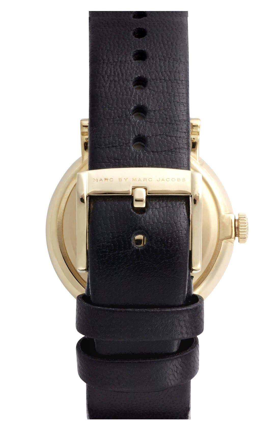 MARC JACOBS, 'Baker' Leather Strap Watch, 37mm, Alternate thumbnail 5, color, 001