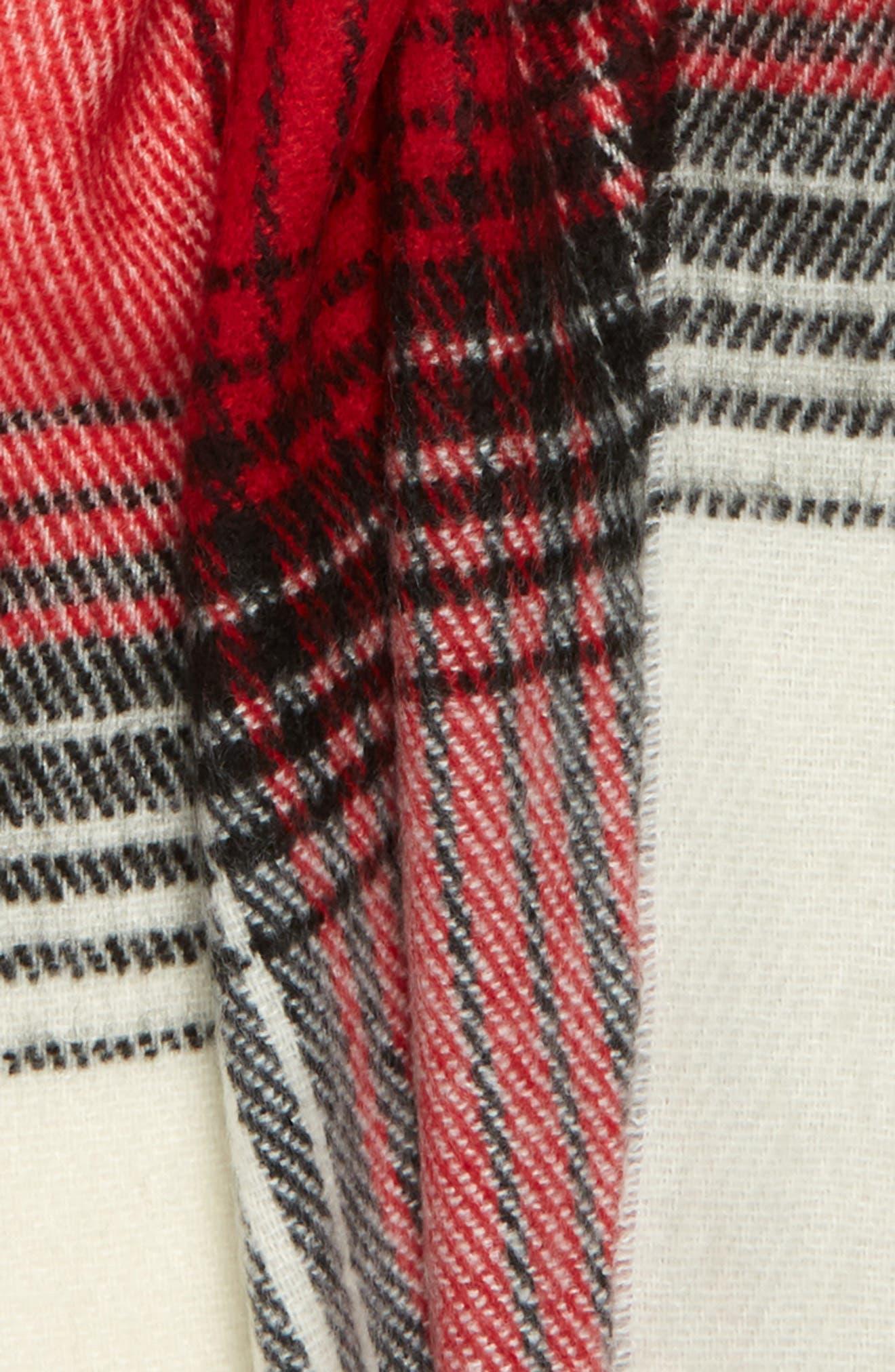 TOPSHOP, Longwear Classic Check Scarf, Alternate thumbnail 3, color, BLACK MULTI