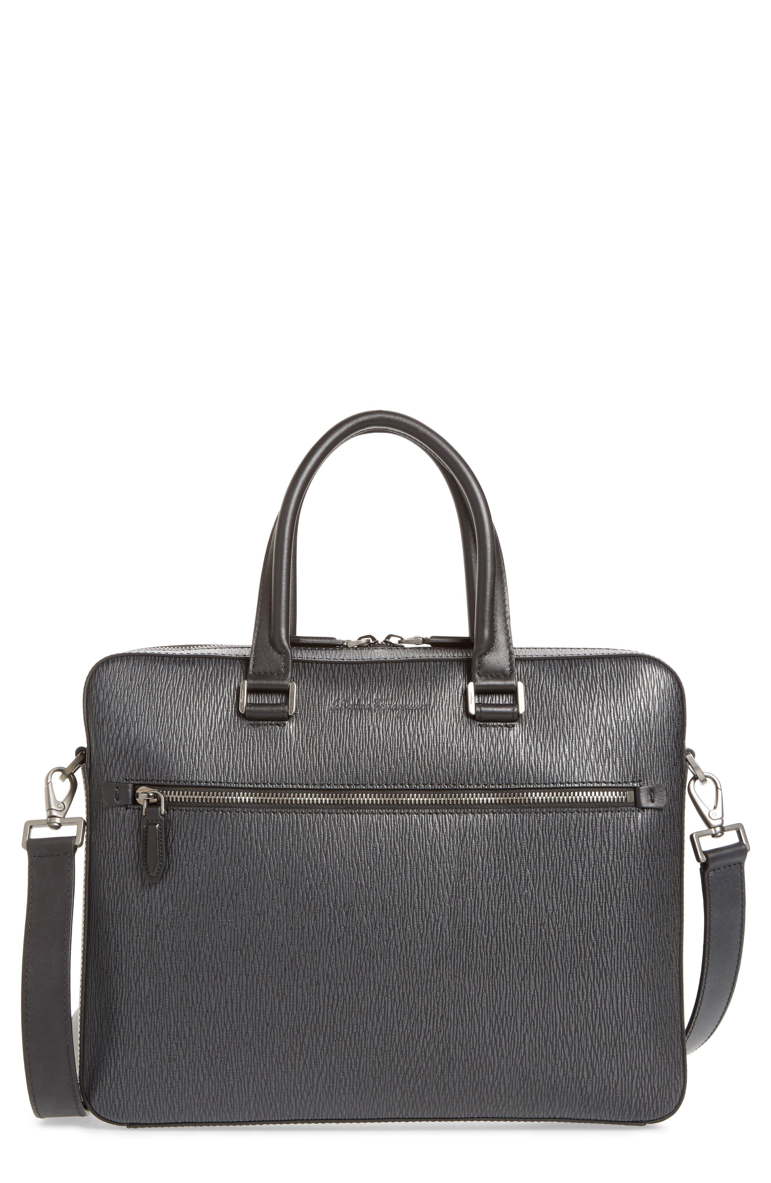 SALVATORE FERRAGAMO, Textured Leather Briefcase, Main thumbnail 1, color, GRIGIO/ NERO