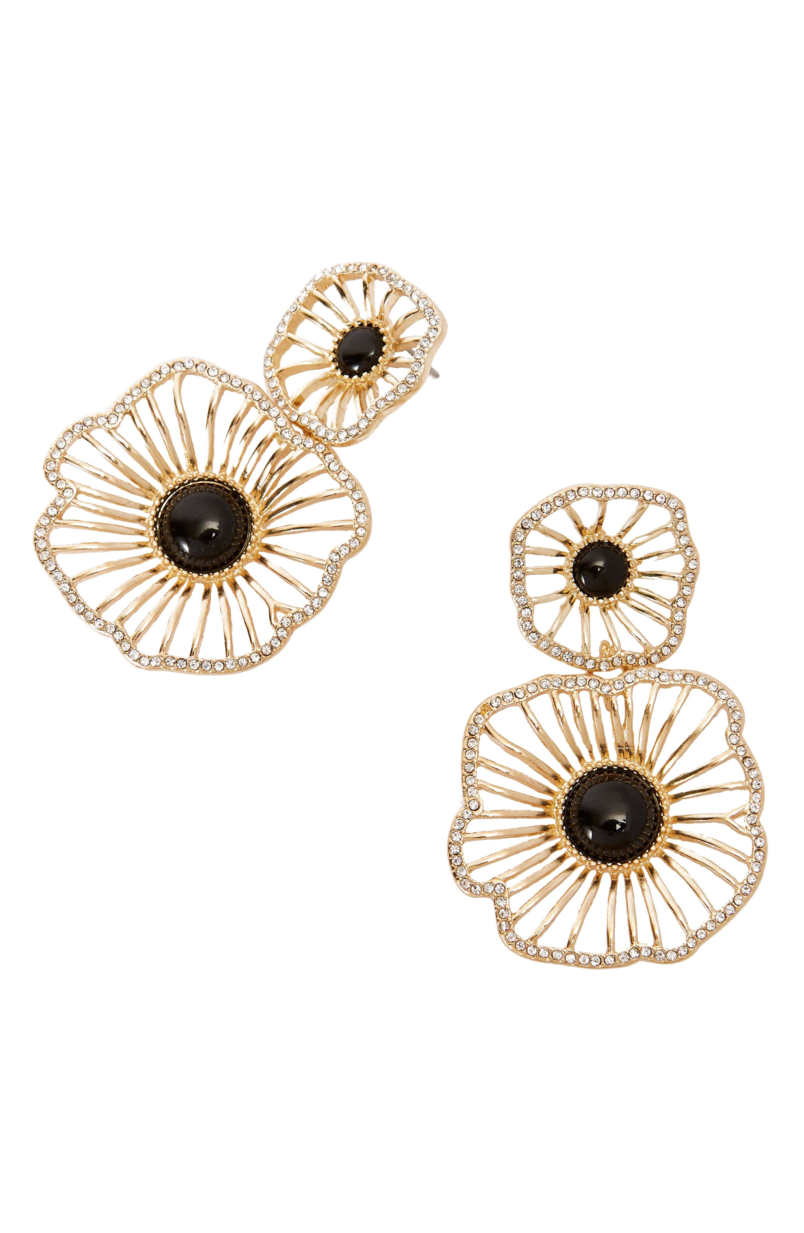 LILLY PULITZER<SUP>®</SUP> Showstopper Earrings, Main, color, ONYX