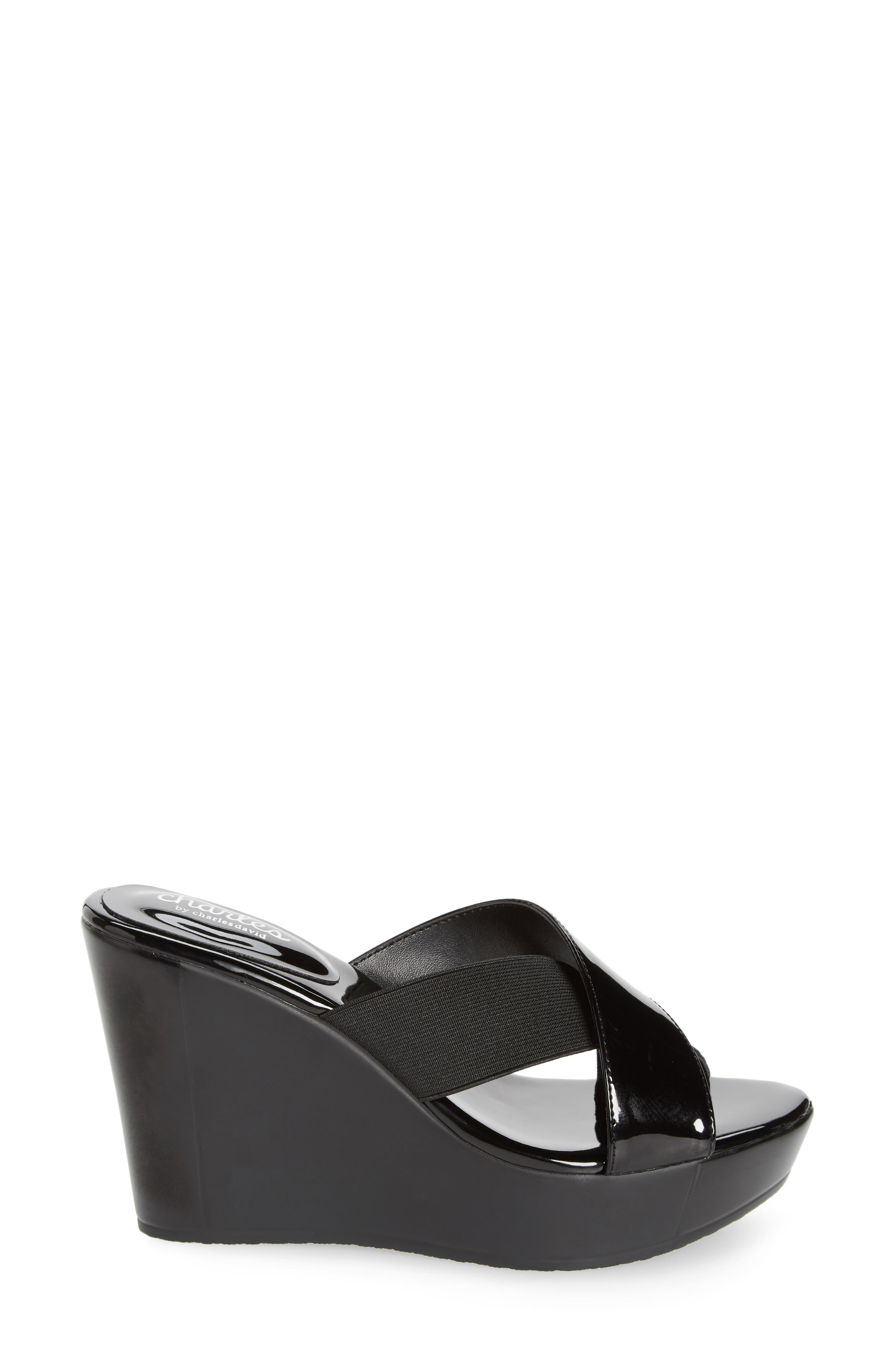 CHARLES BY CHARLES DAVID, Fuzho Platform Wedge Sandal, Alternate thumbnail 3, color, BLACK FABRIC/ FAUX PATENT