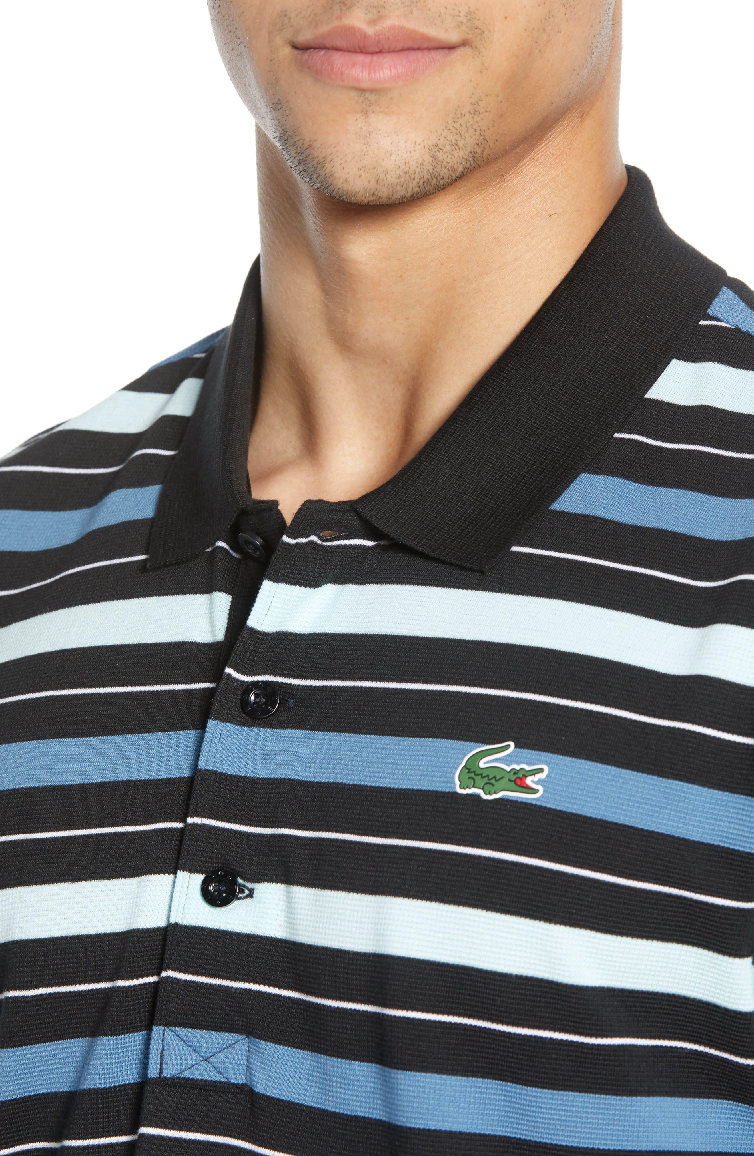 LACOSTE, Super Light Stripe Piqué Polo, Alternate thumbnail 4, color, BLACK/ AQUARIUM-WHITE-NEOTTIA