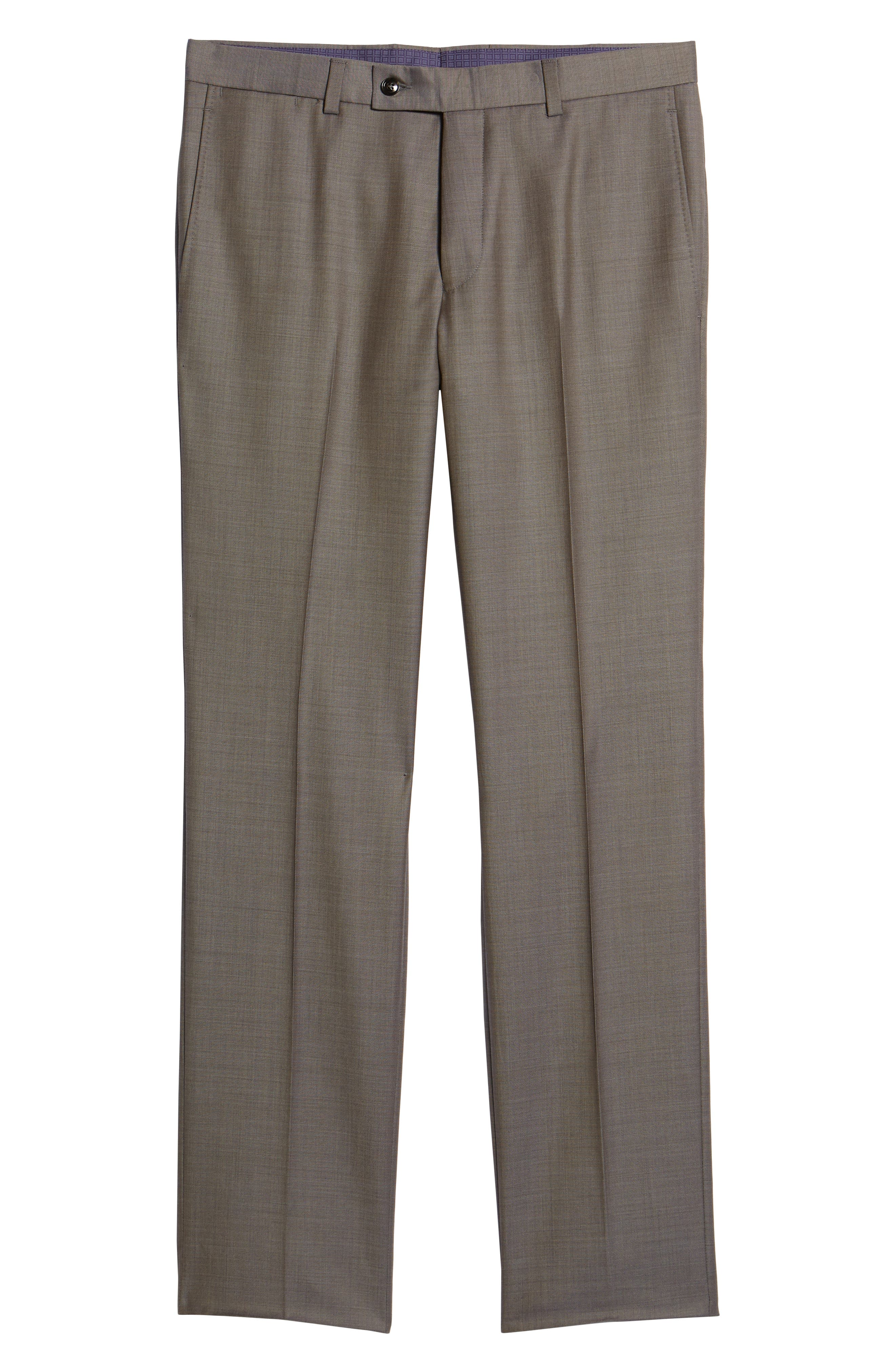 TED BAKER LONDON, Jefferson Flat Front Wool Trousers, Alternate thumbnail 6, color, MID GREY