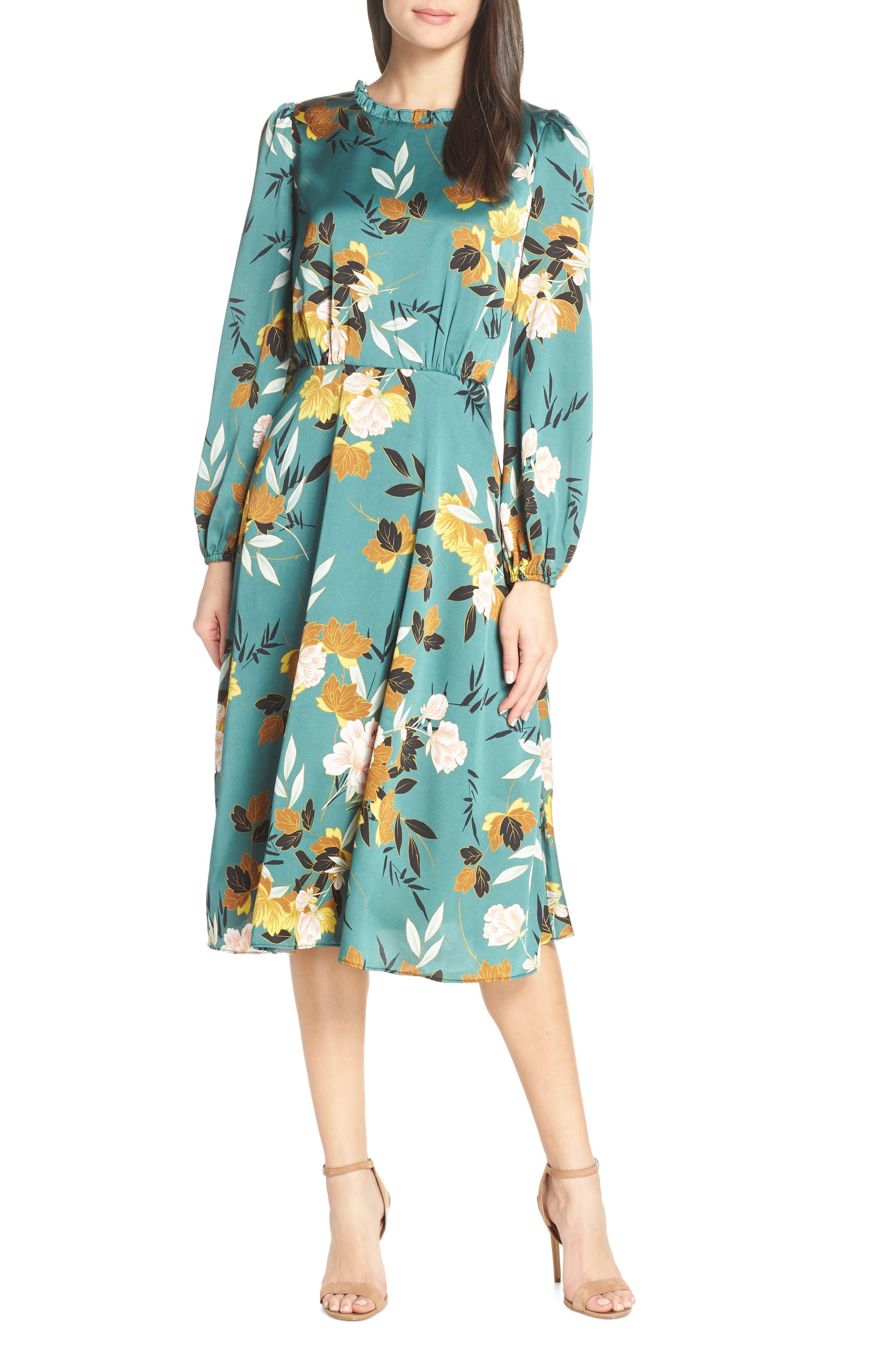 Chelsea28 Floral Print Ruffle Neck Dress, Green