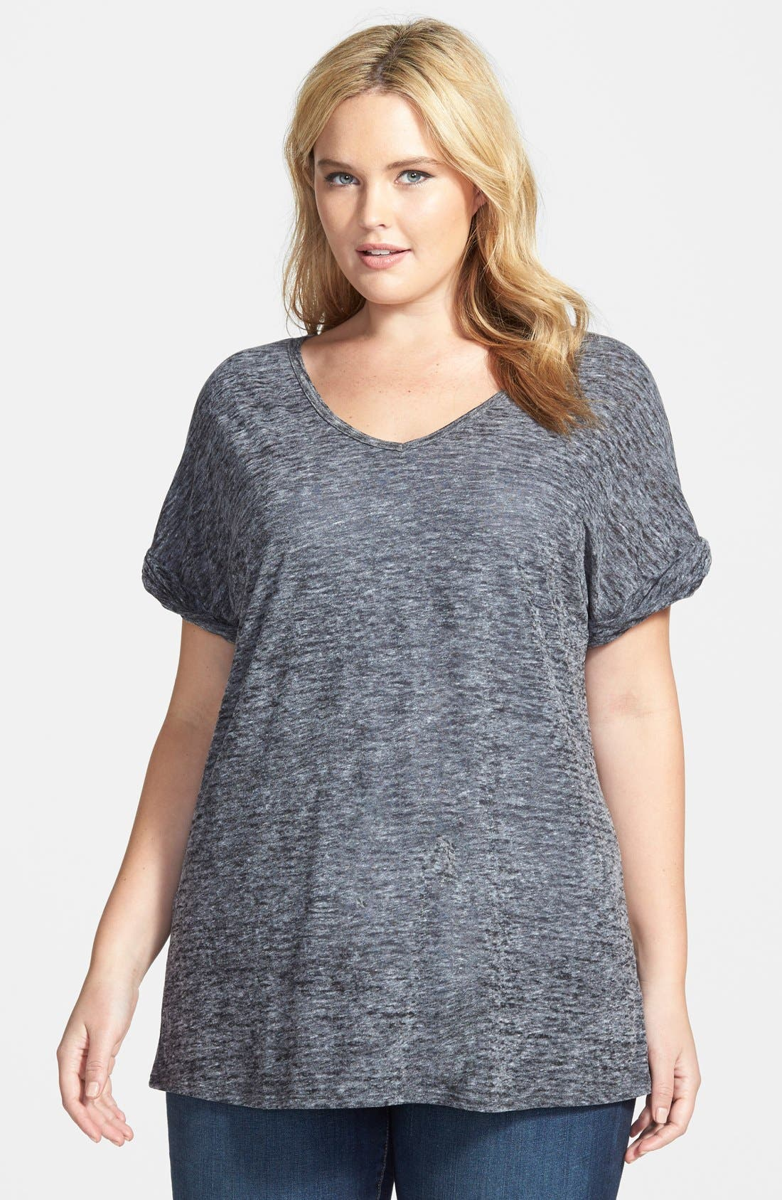 SEJOUR, Sheer Jersey V-Neck Tee, Main thumbnail 1, color, 001