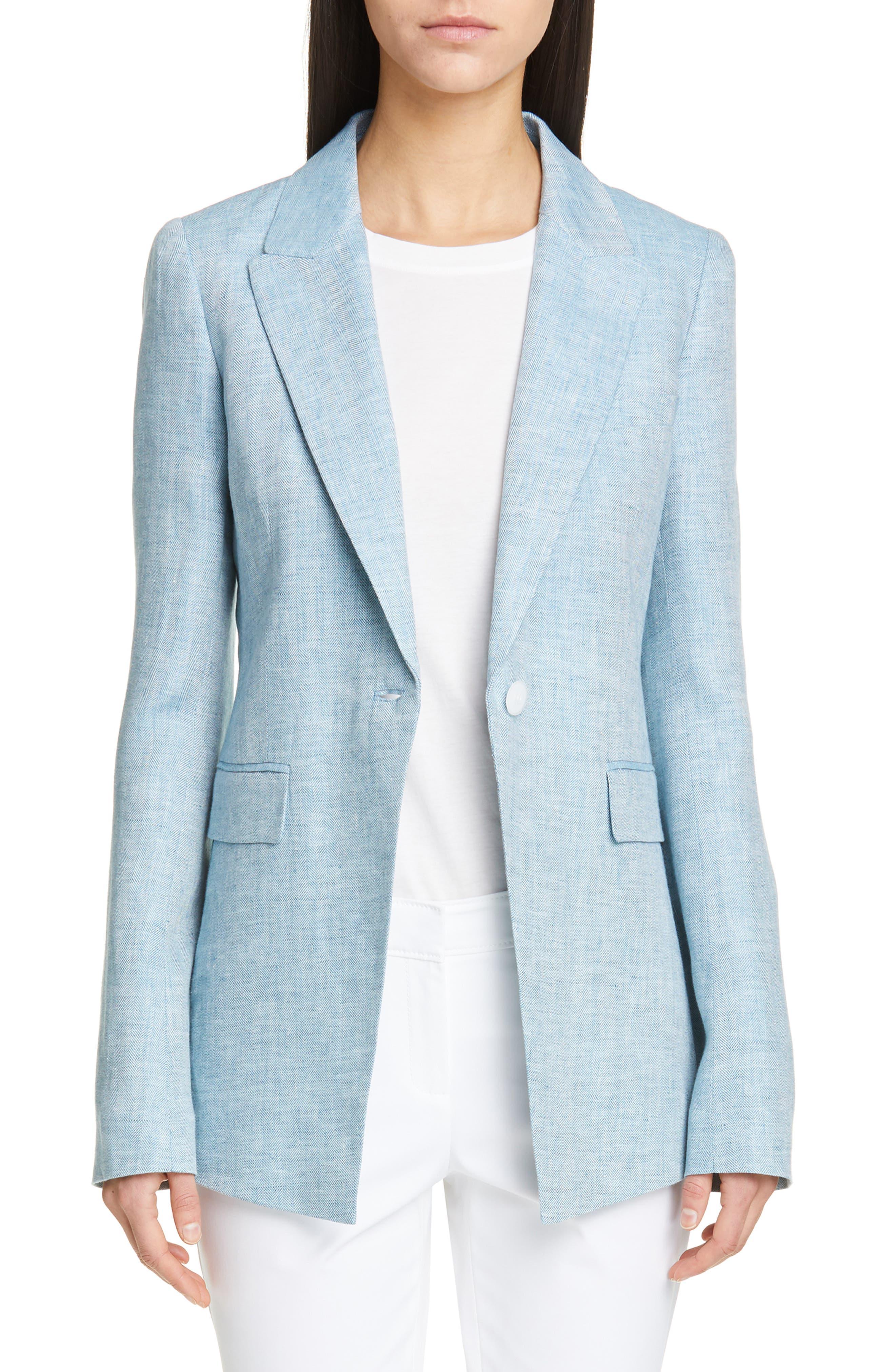 LAFAYETTE 148 NEW YORK Heather Linen Jacket, Main, color, BLUE STEEL MULTI