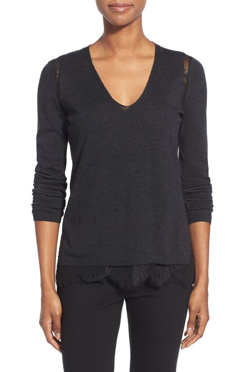1ff0d787b0 Kobi Halperin  Kylie  Lace Inset V-Neck Merino Sweater