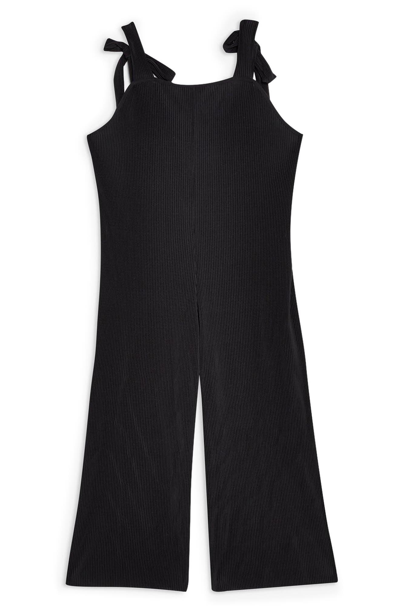 TOPSHOP, Tie Shoulder Crop Jumpsuit, Alternate thumbnail 5, color, BLACK