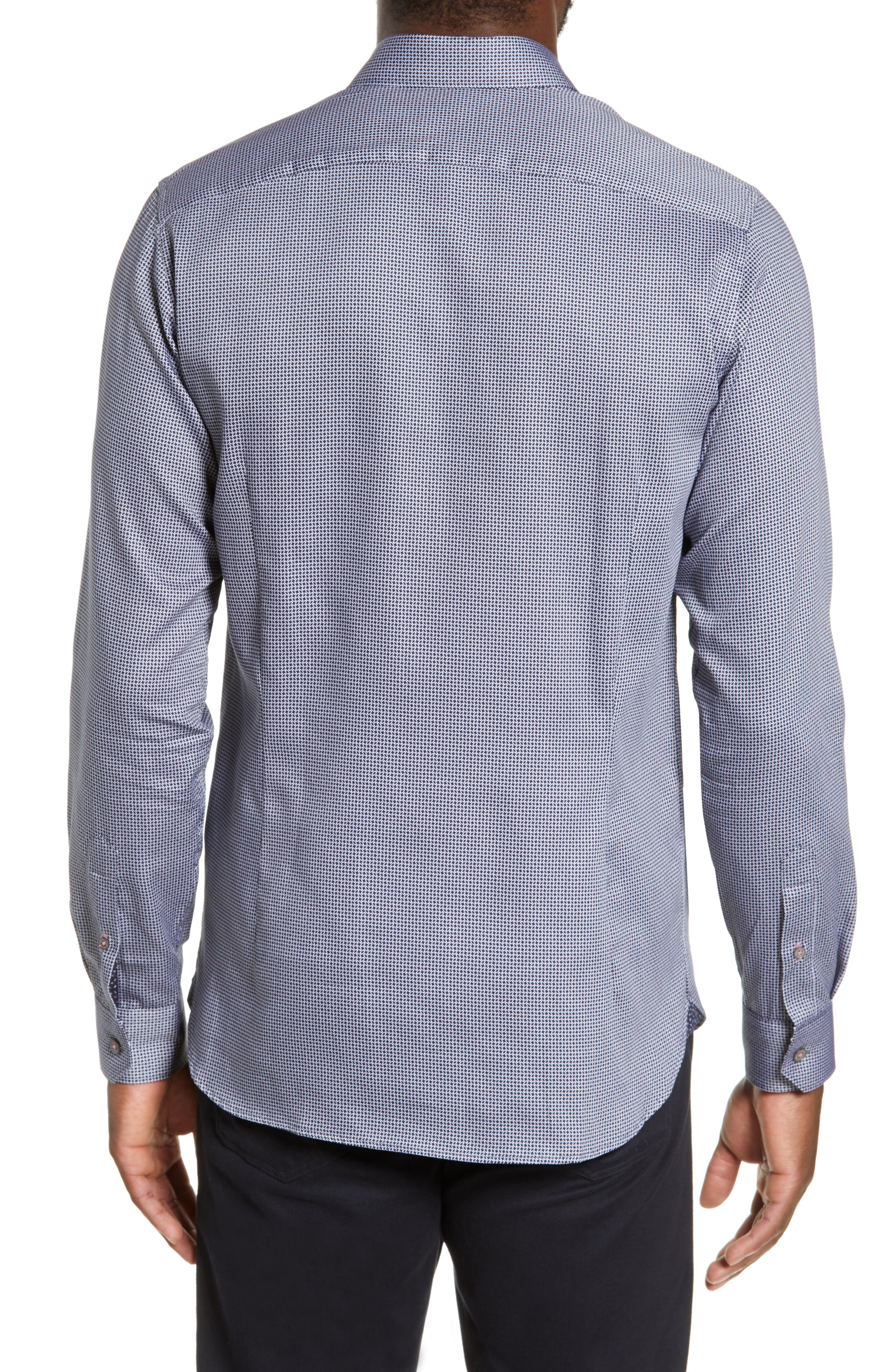 TED BAKER LONDON, Bloosem Slim Fit Print Sport Shirt, Alternate thumbnail 3, color, NAVY