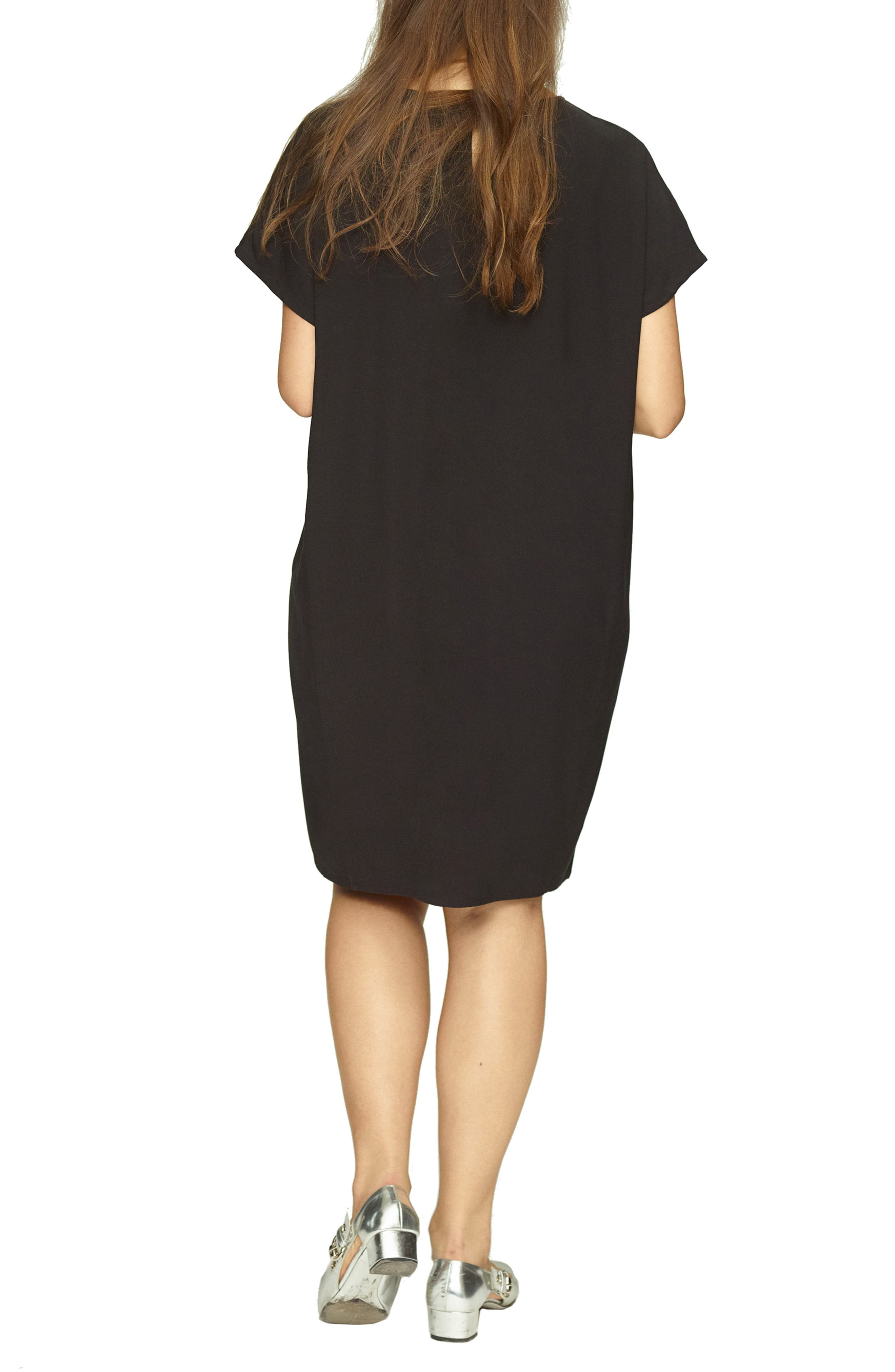 UNIVERSAL STANDARD, Luxe Twill Sheath Dress, Alternate thumbnail 2, color, 001