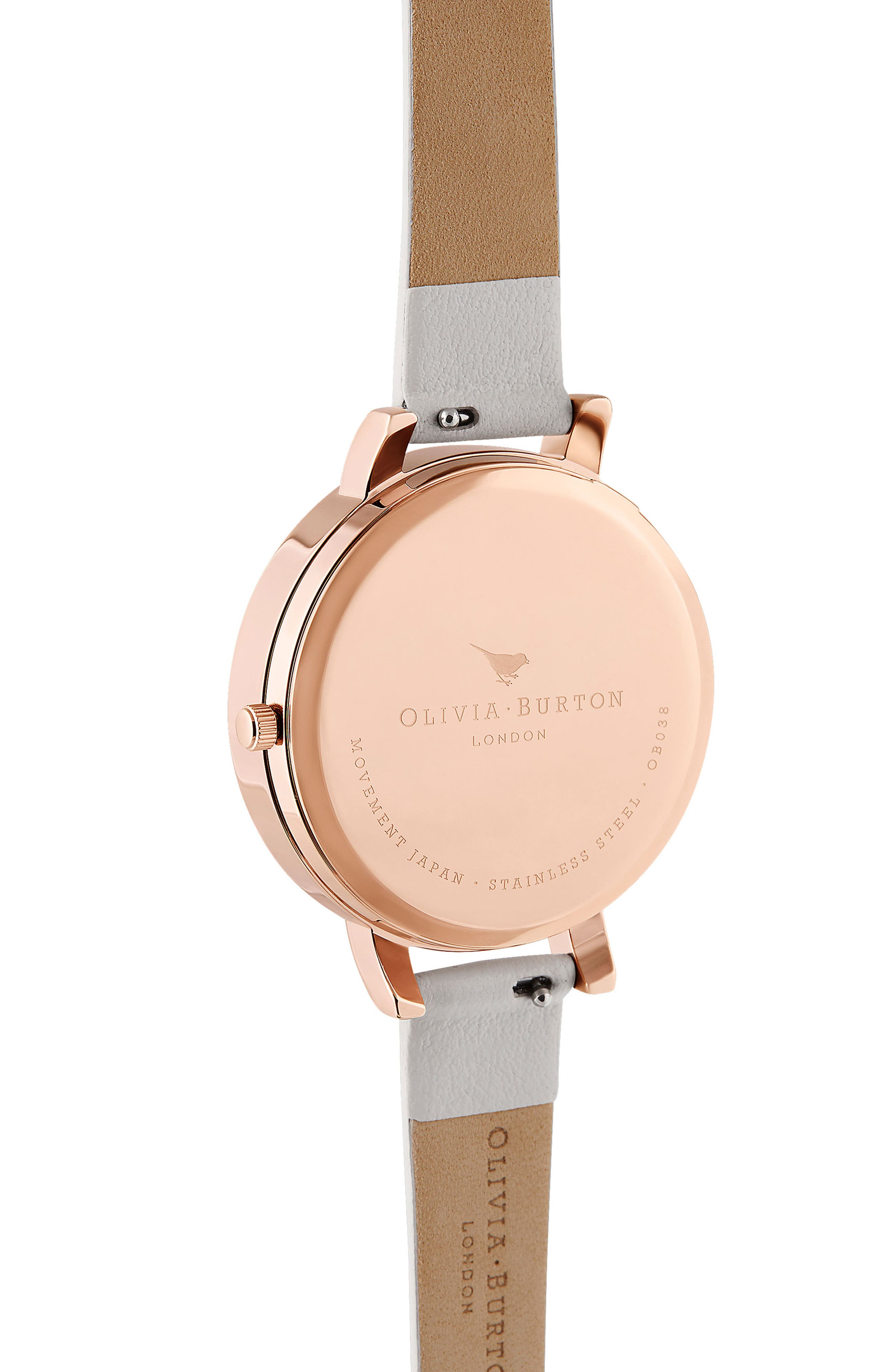 OLIVIA BURTON, 'Molded Bee' Leather Strap Watch, 38mm, Alternate thumbnail 3, color, BLUSH/ SUNRAY BEE/ ROSE GOLD