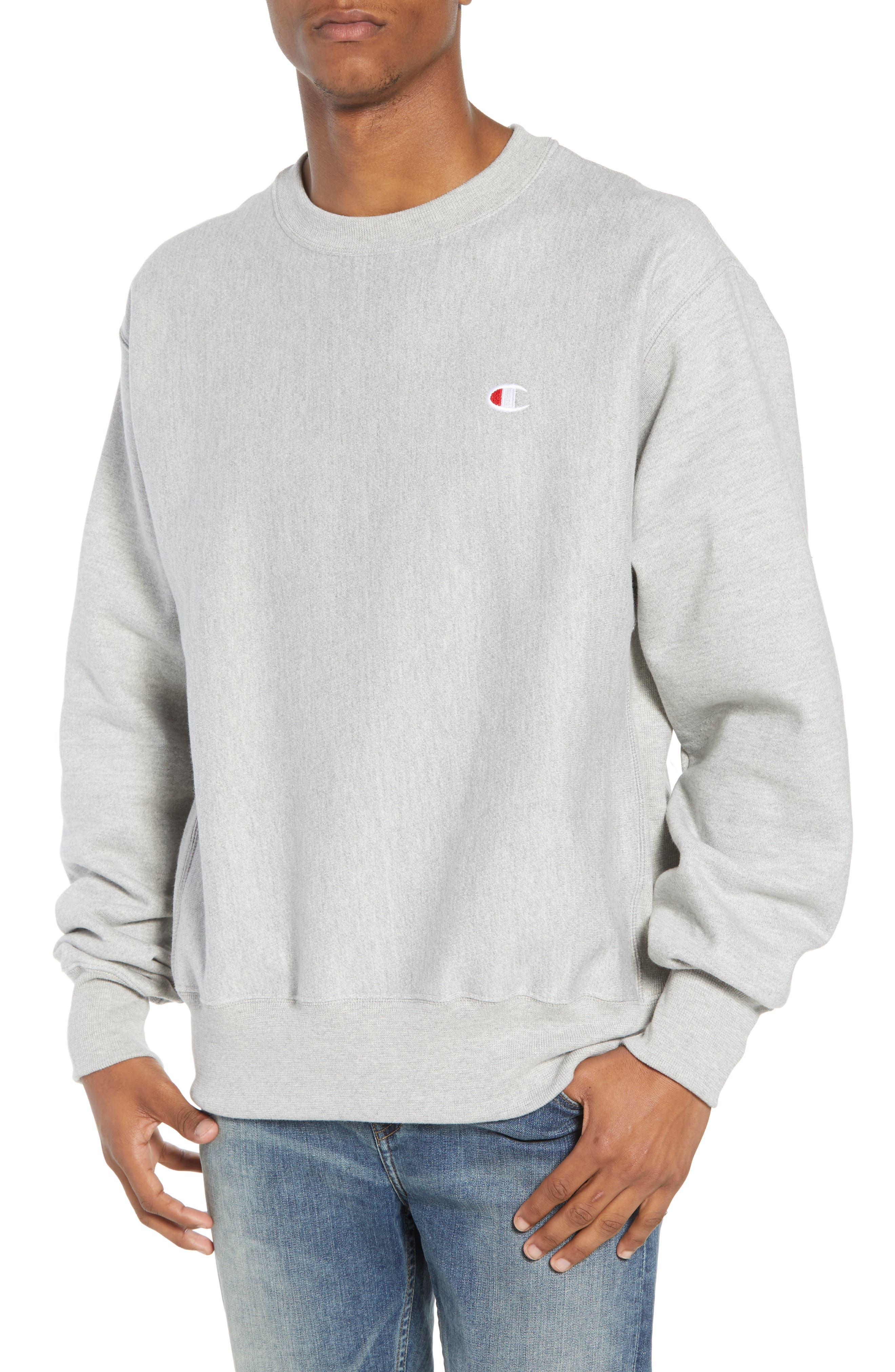 CHAMPION, Reverse Weave Sweatshirt, Main thumbnail 1, color, OXFORD GRAY