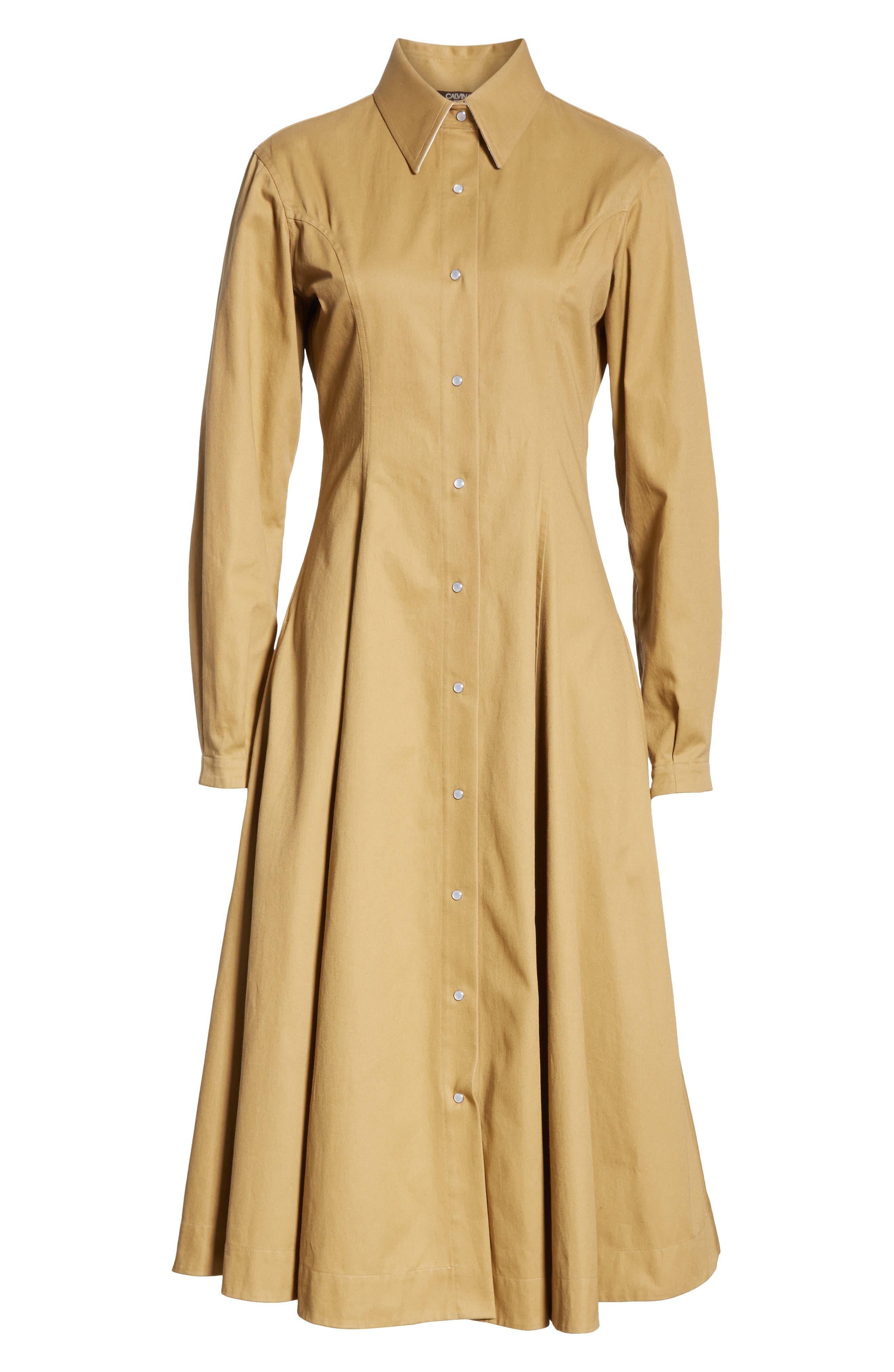 CALVIN KLEIN 205W39NYC, Western Twill A-Line Midi Dress, Alternate thumbnail 7, color, DUNE