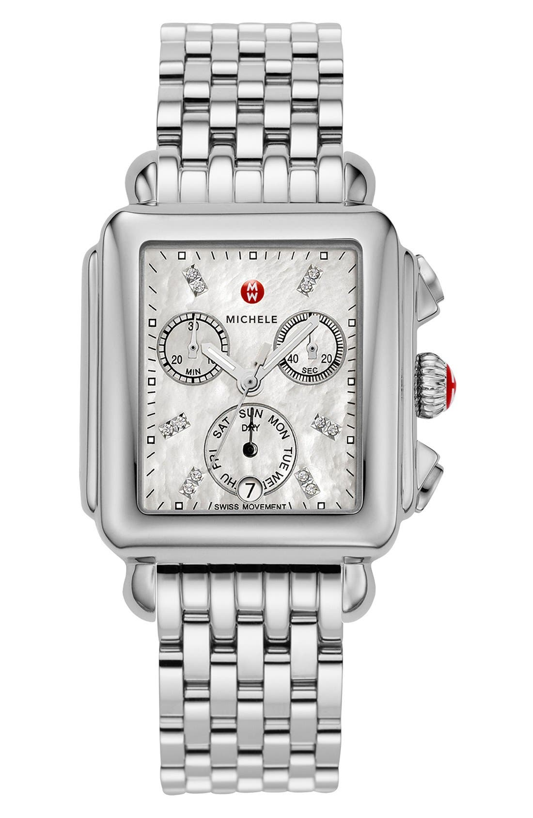 MICHELE, Deco Diamond Dial Watch Case, 33mm x 35mm, Alternate thumbnail 3, color, SILVER
