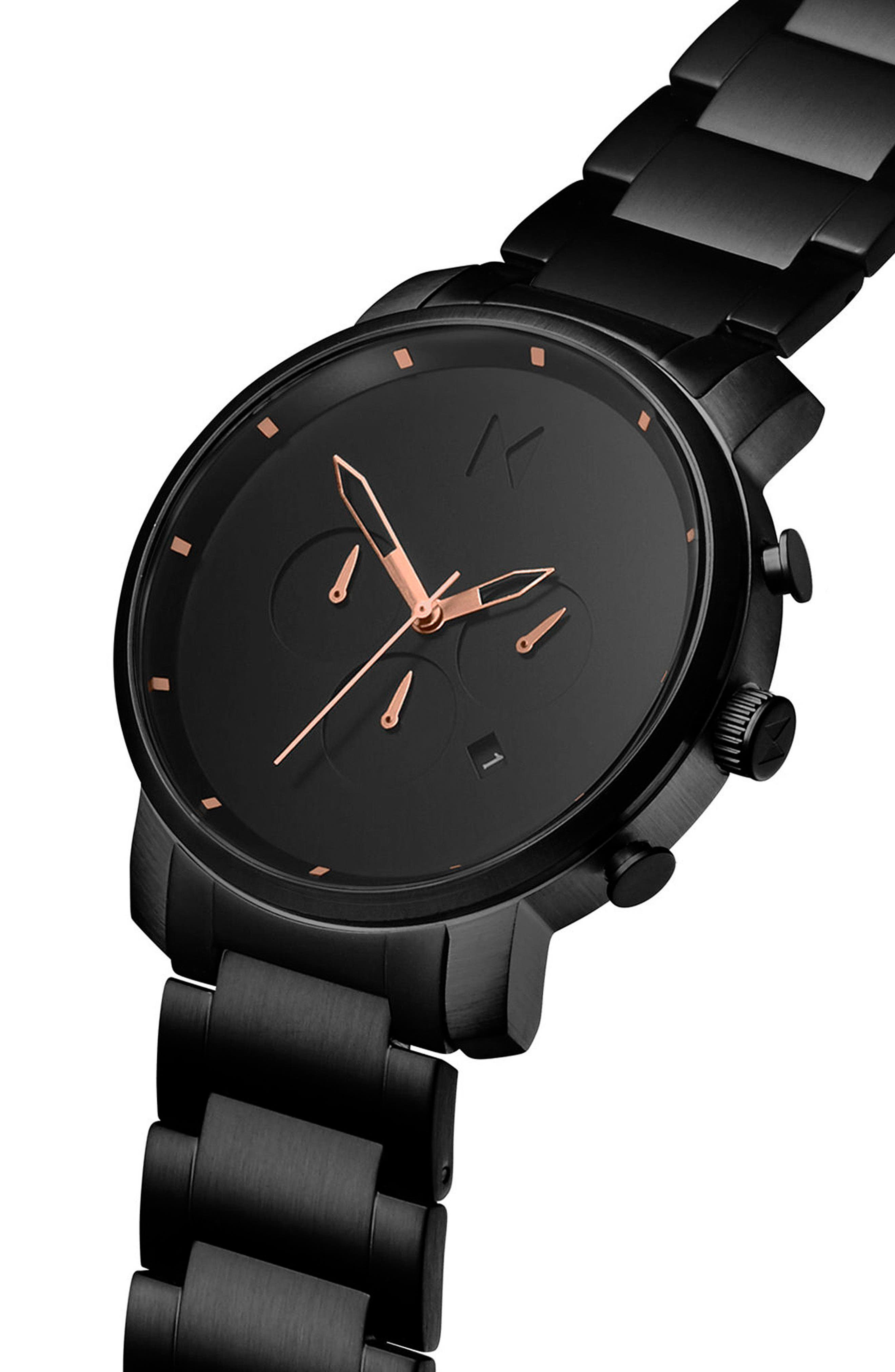 MVMT, The Chrono Chronograph Bracelet Watch, 45mm, Alternate thumbnail 3, color, ALL BLACK/ ROSE GOLD