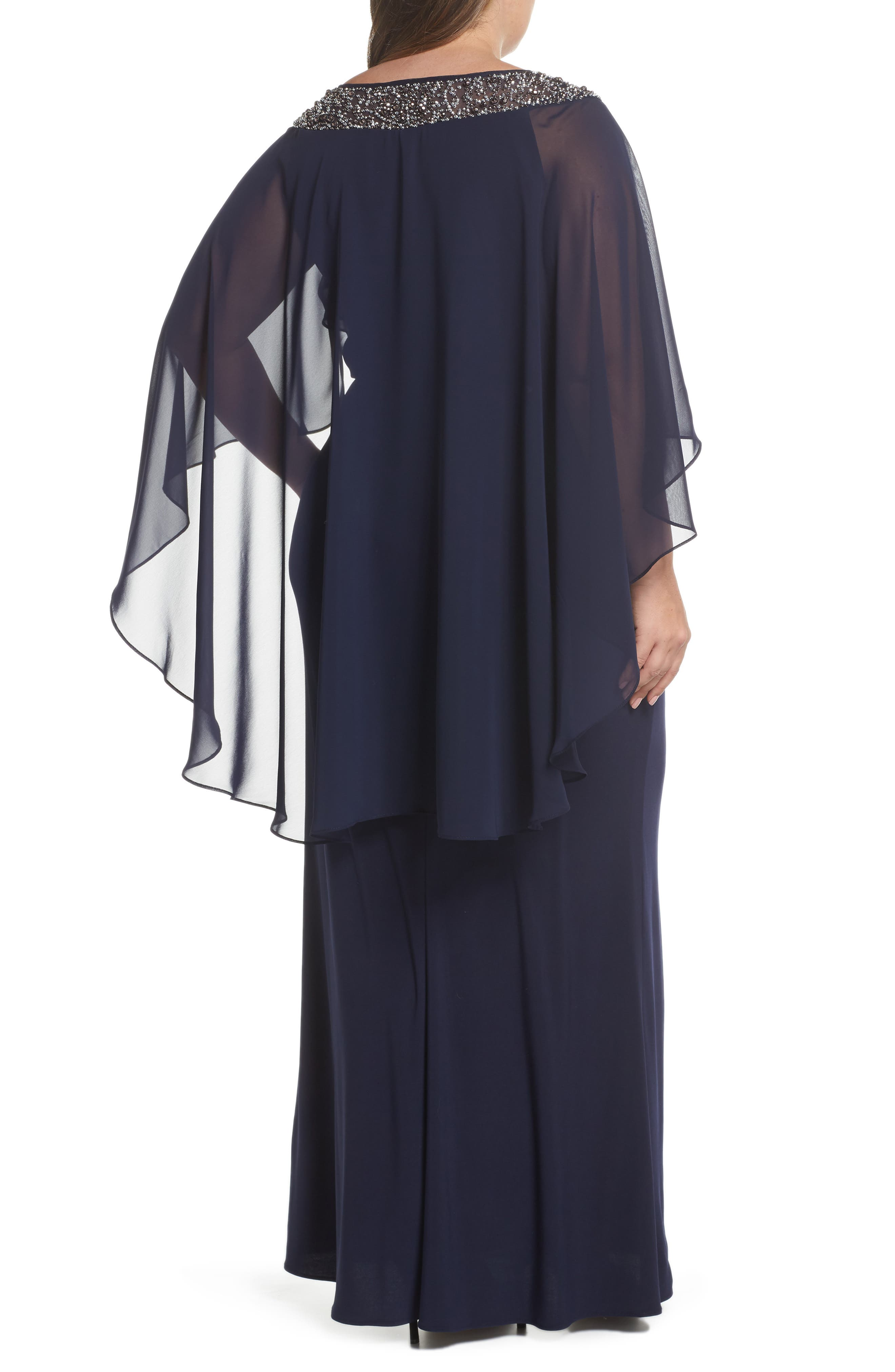XSCAPE, Chiffon Cape Sleeve Beaded Neckline Gown, Alternate thumbnail 2, color, NAVY/ SILVER