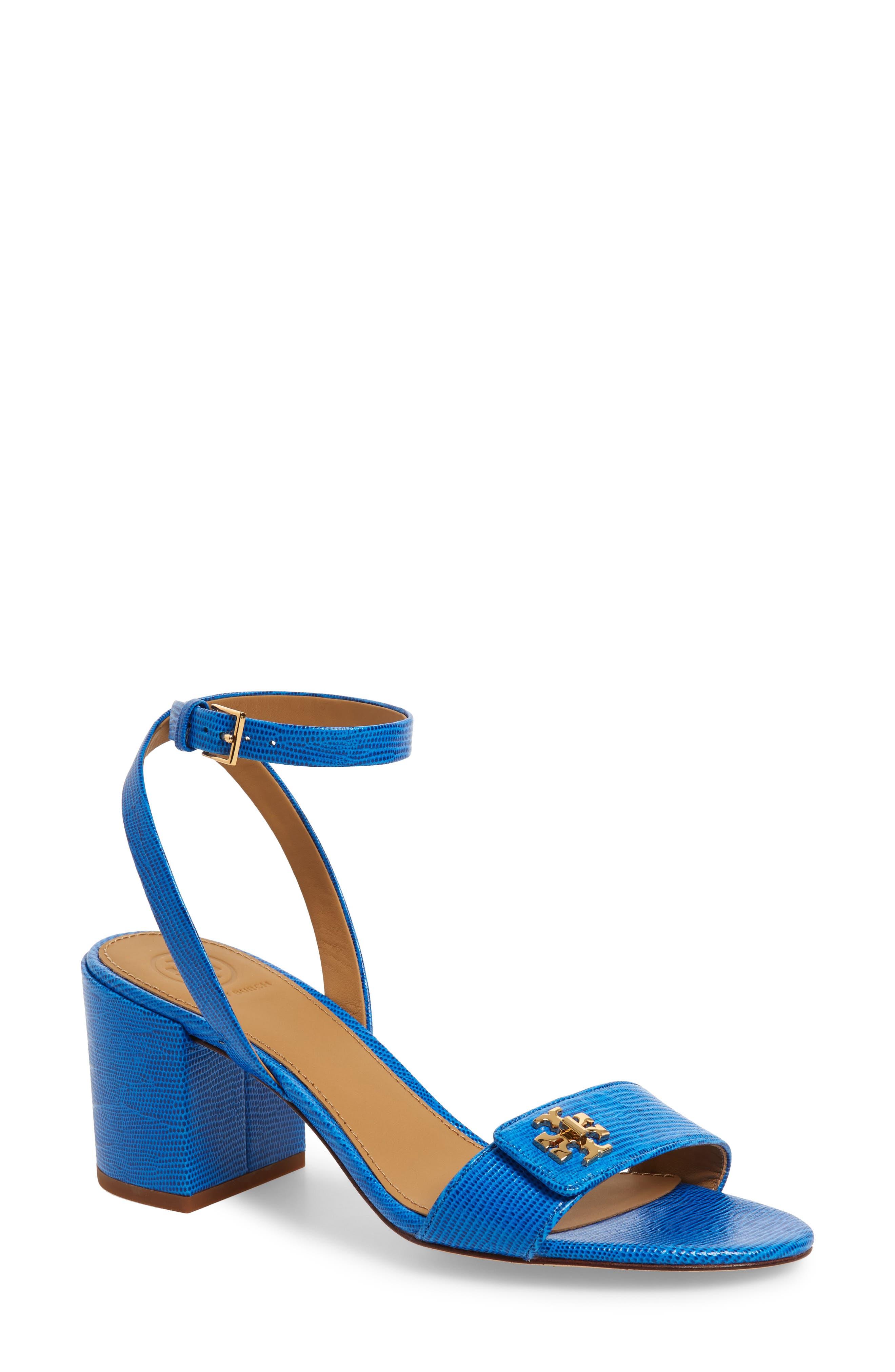 TORY BURCH Kira Block Heel Sandal, Main, color, BRIGHT TROPICAL BLUE