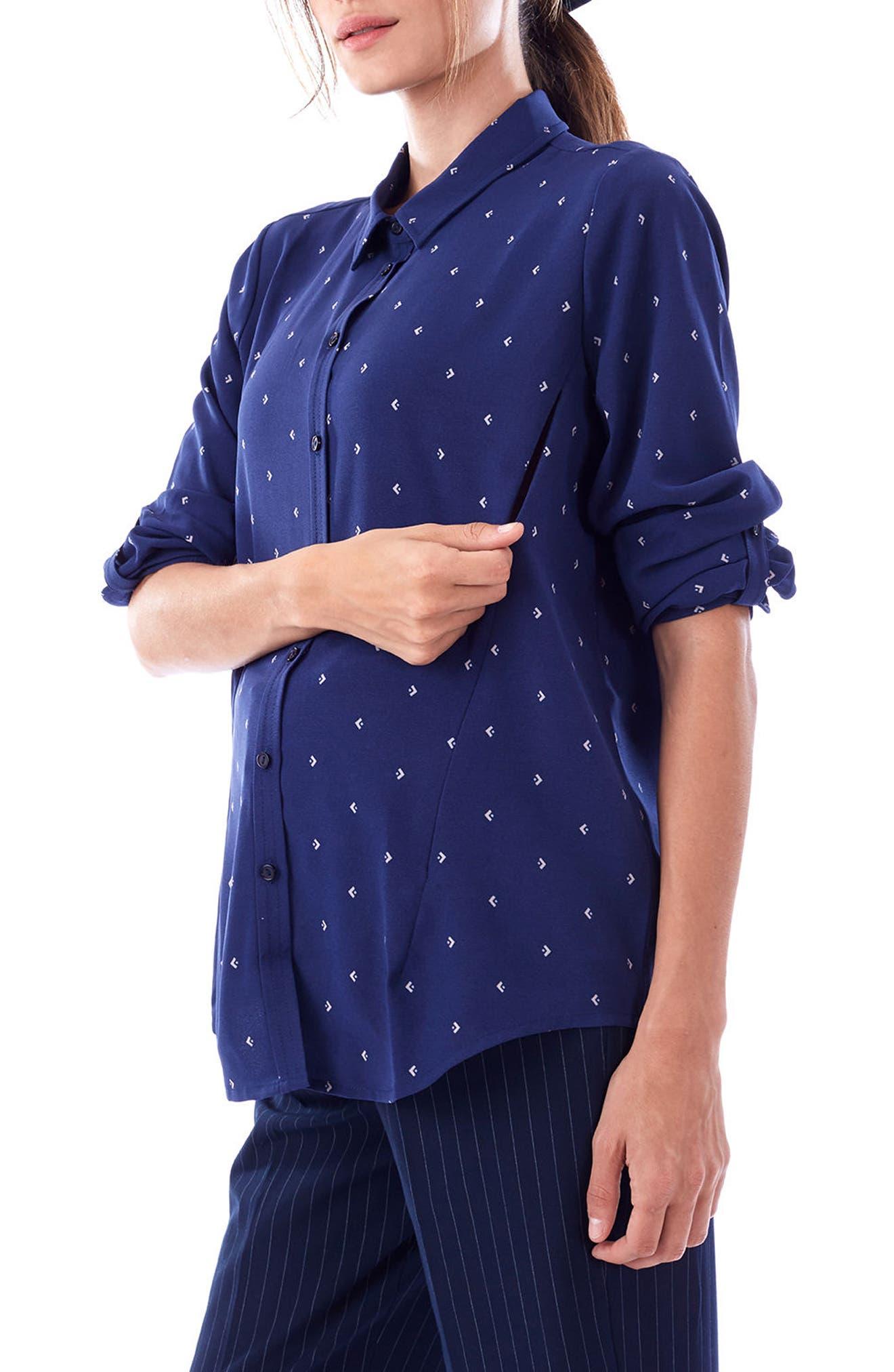 LOYAL HANA, Riley Maternity/Nursing Blouse, Alternate thumbnail 4, color, BLUE ARROW PLAID