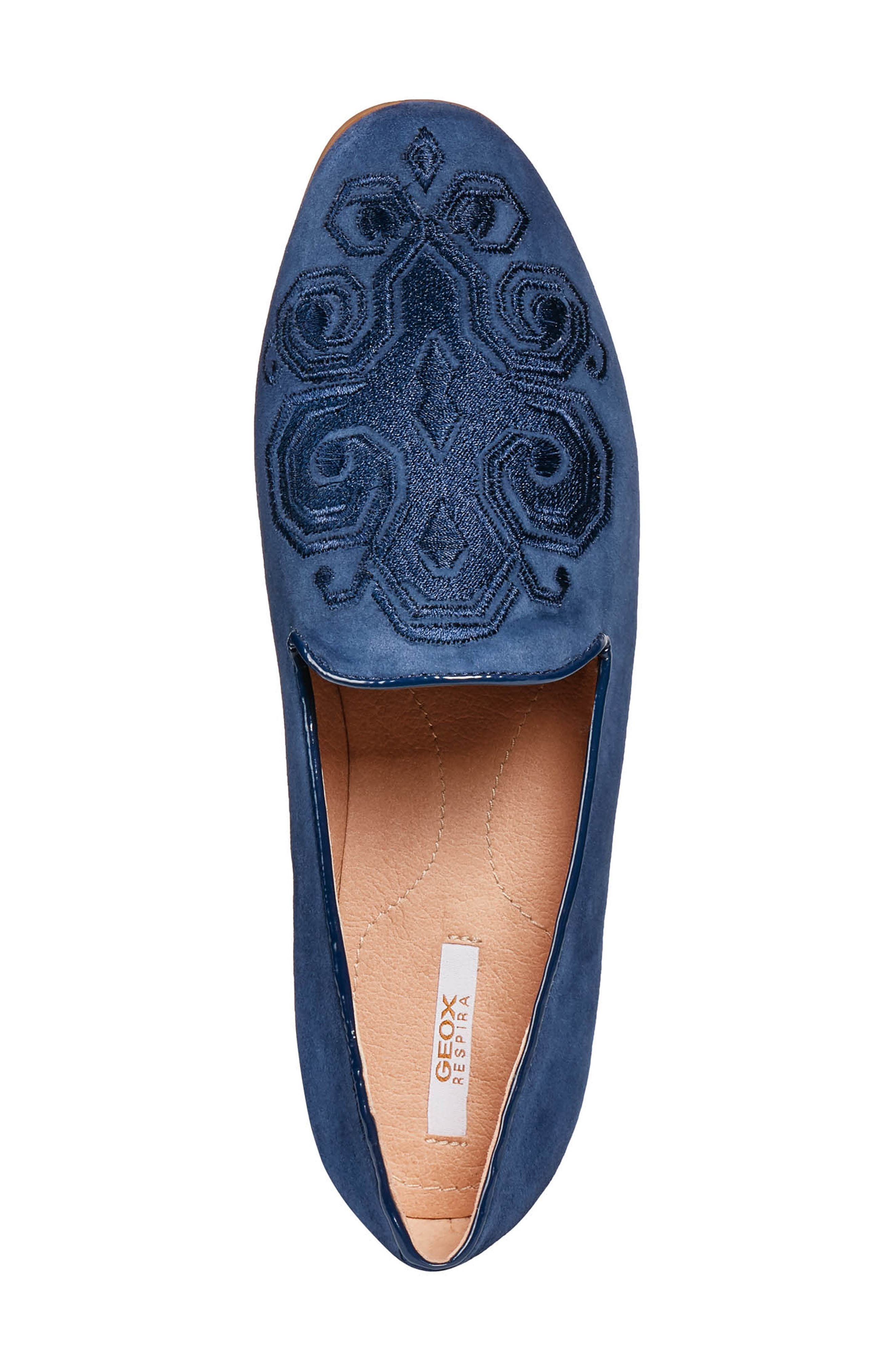 GEOX, Marlyna Loafer, Alternate thumbnail 5, color, BLUE SUEDE