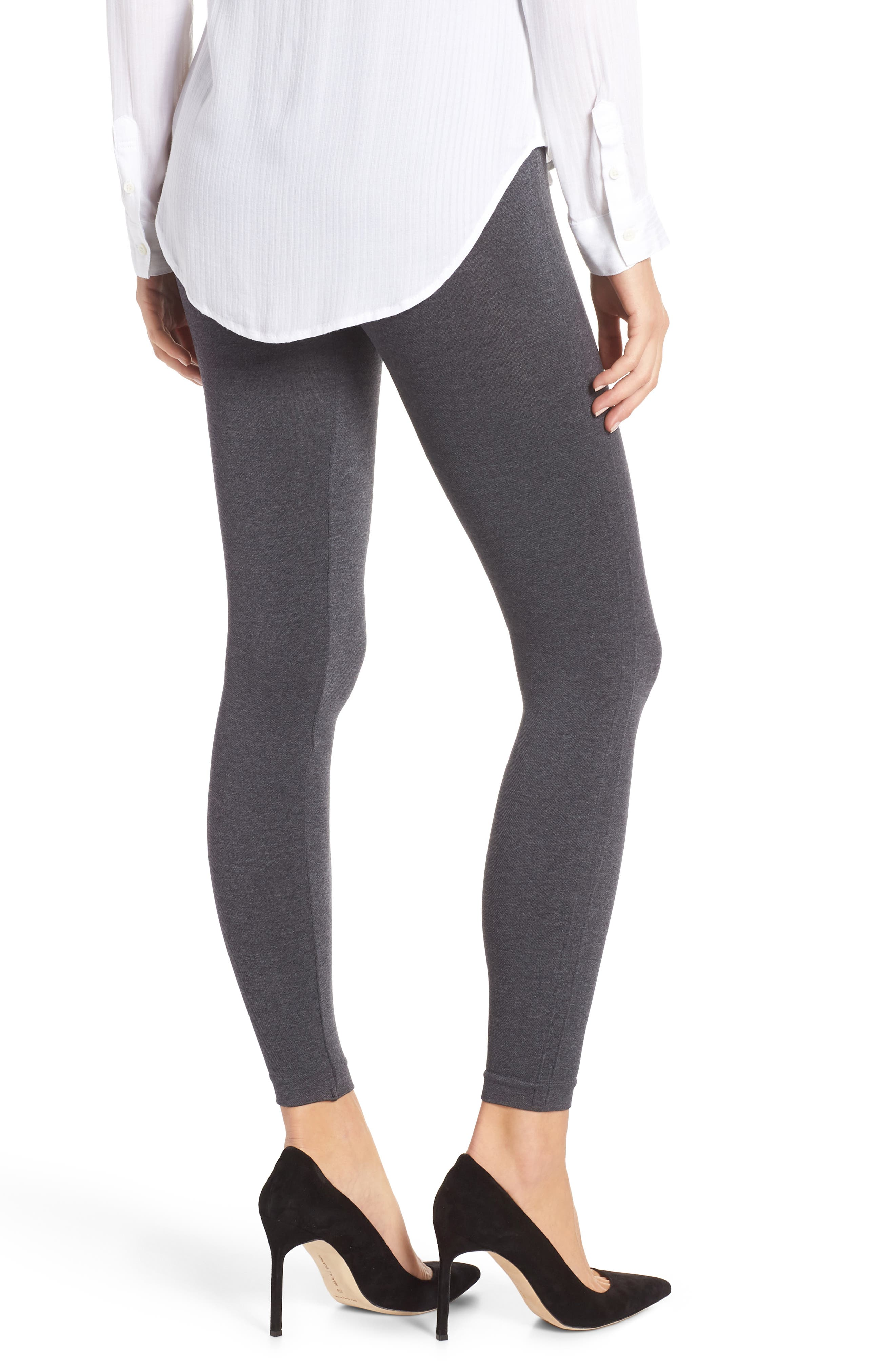 SPANX<SUP>®</SUP>, Look at Me Now' Seamless Leggings, Alternate thumbnail 2, color, HEATHER CHARCOAL