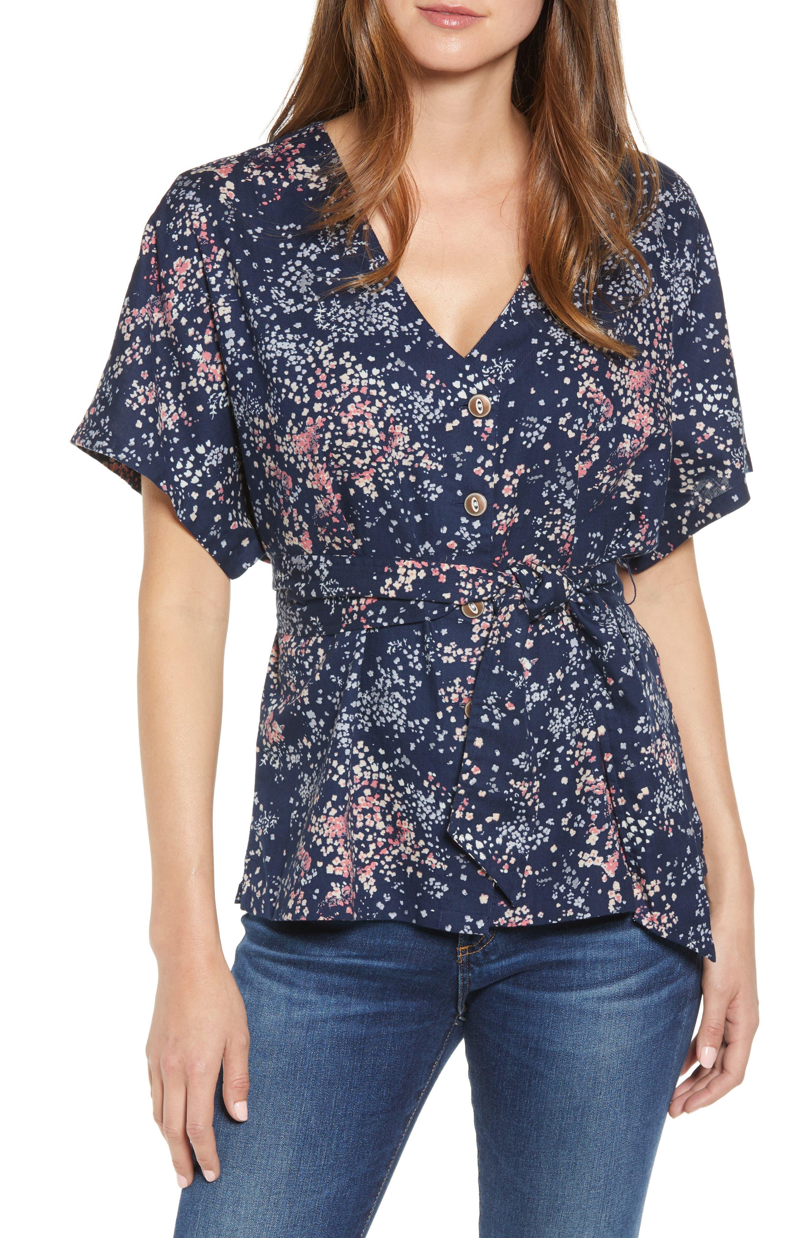 CASLON<SUP>®</SUP>, Button-Up Tie Front Blouse, Main thumbnail 1, color, NAVY LITTLE FLOWERS