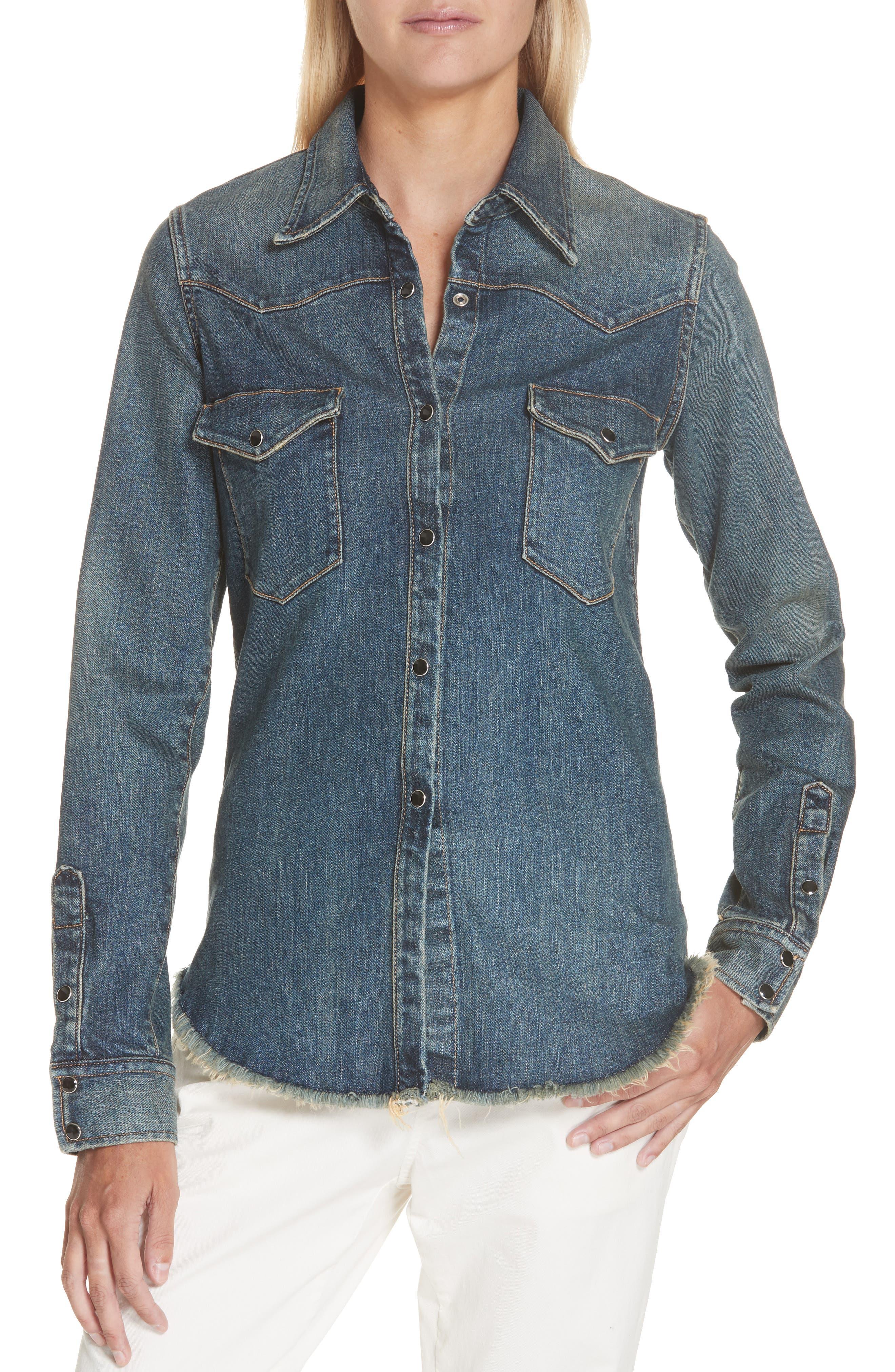 NILI LOTAN Travis Denim Shirt, Main, color, 403
