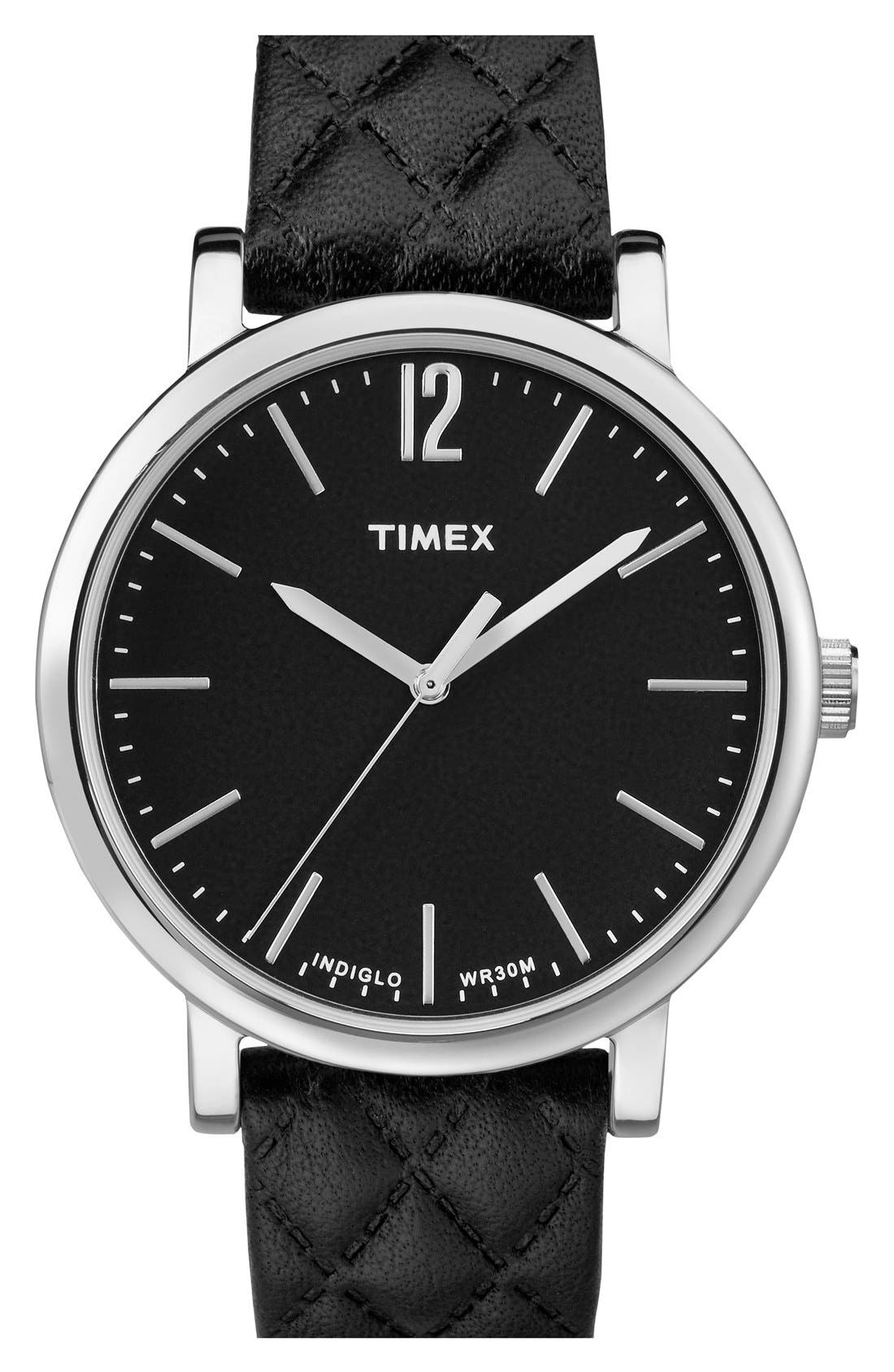 TIMEX<SUP>®</SUP> 'Originals' Leather Strap Watch, 38mm, Main, color, 001