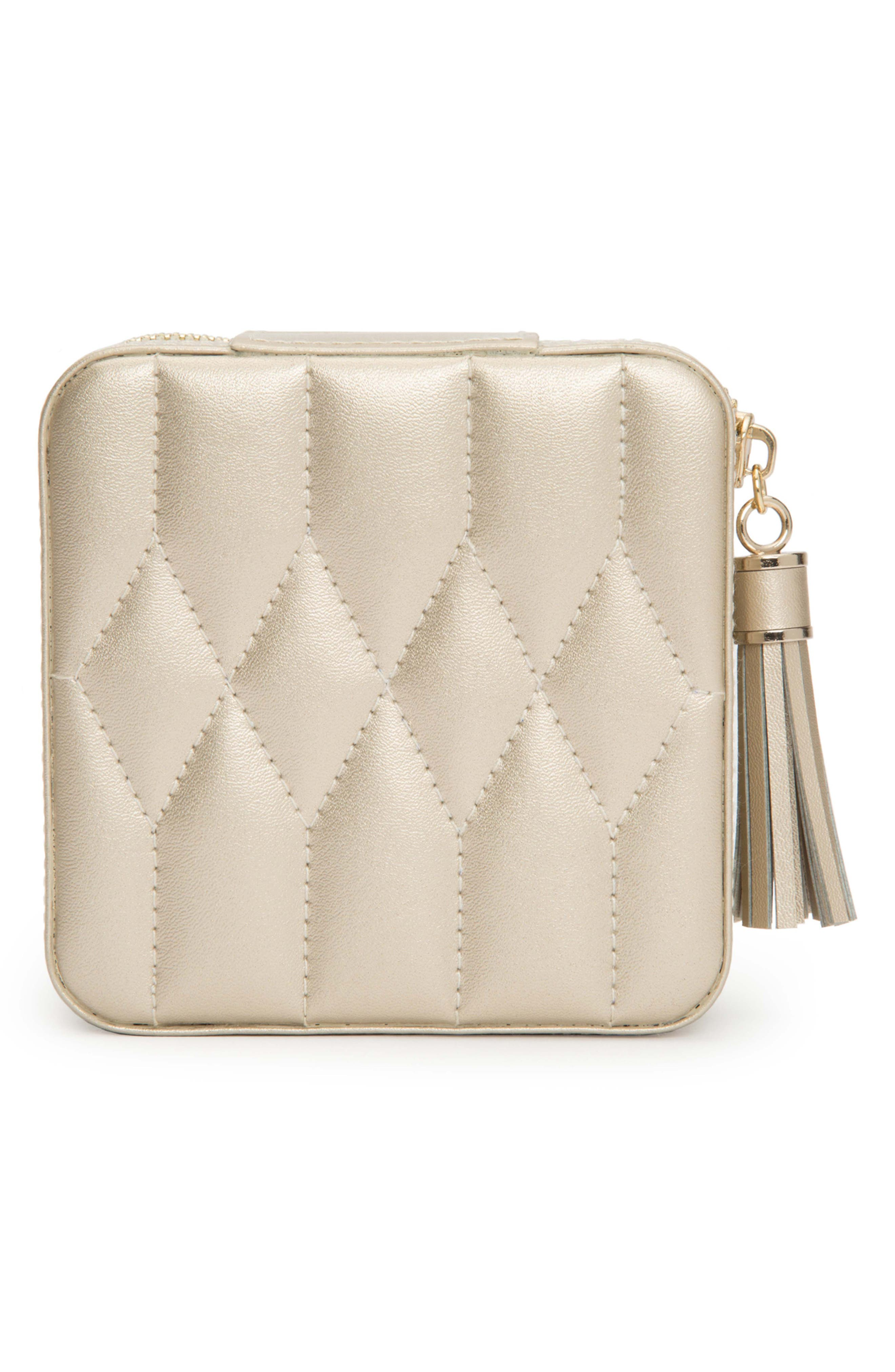 WOLF, 'Caroline' Travel Jewelry Case, Alternate thumbnail 6, color, CHAMPAGNE