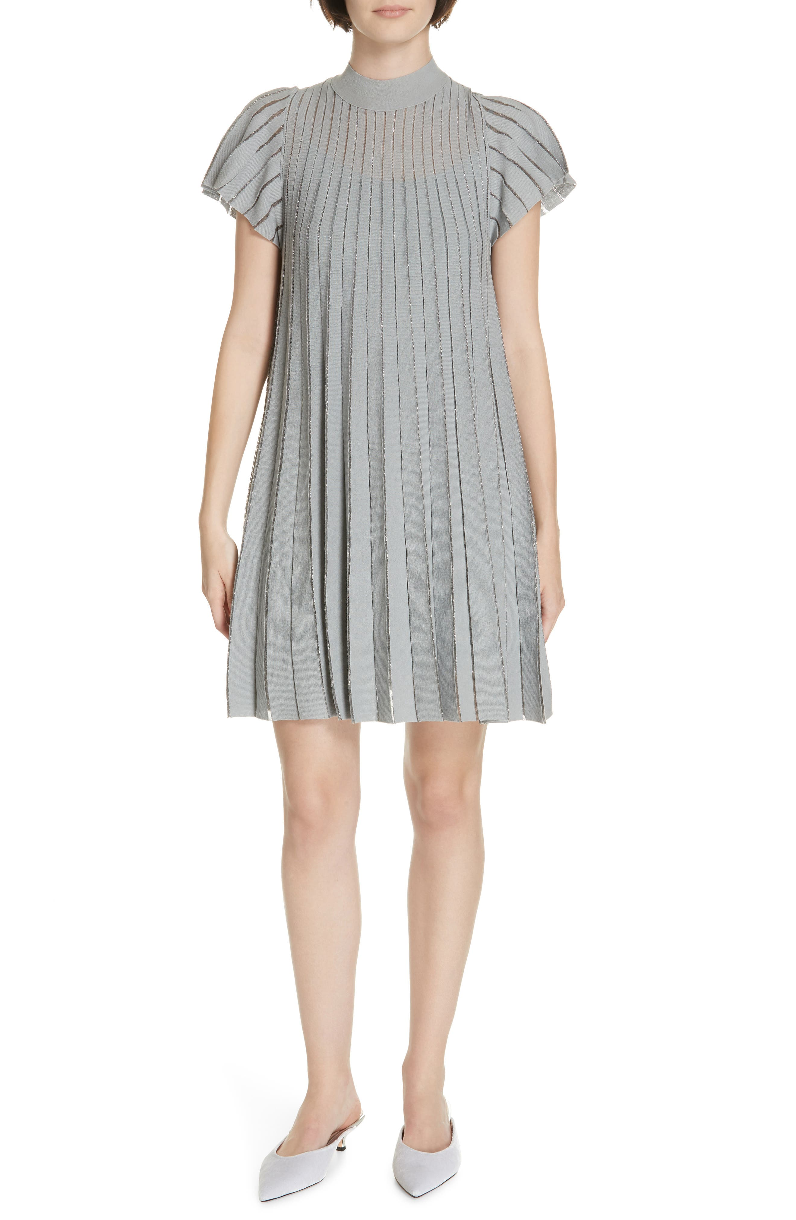 Red Valentino Metallic Sheer Stripe Minidress, Grey