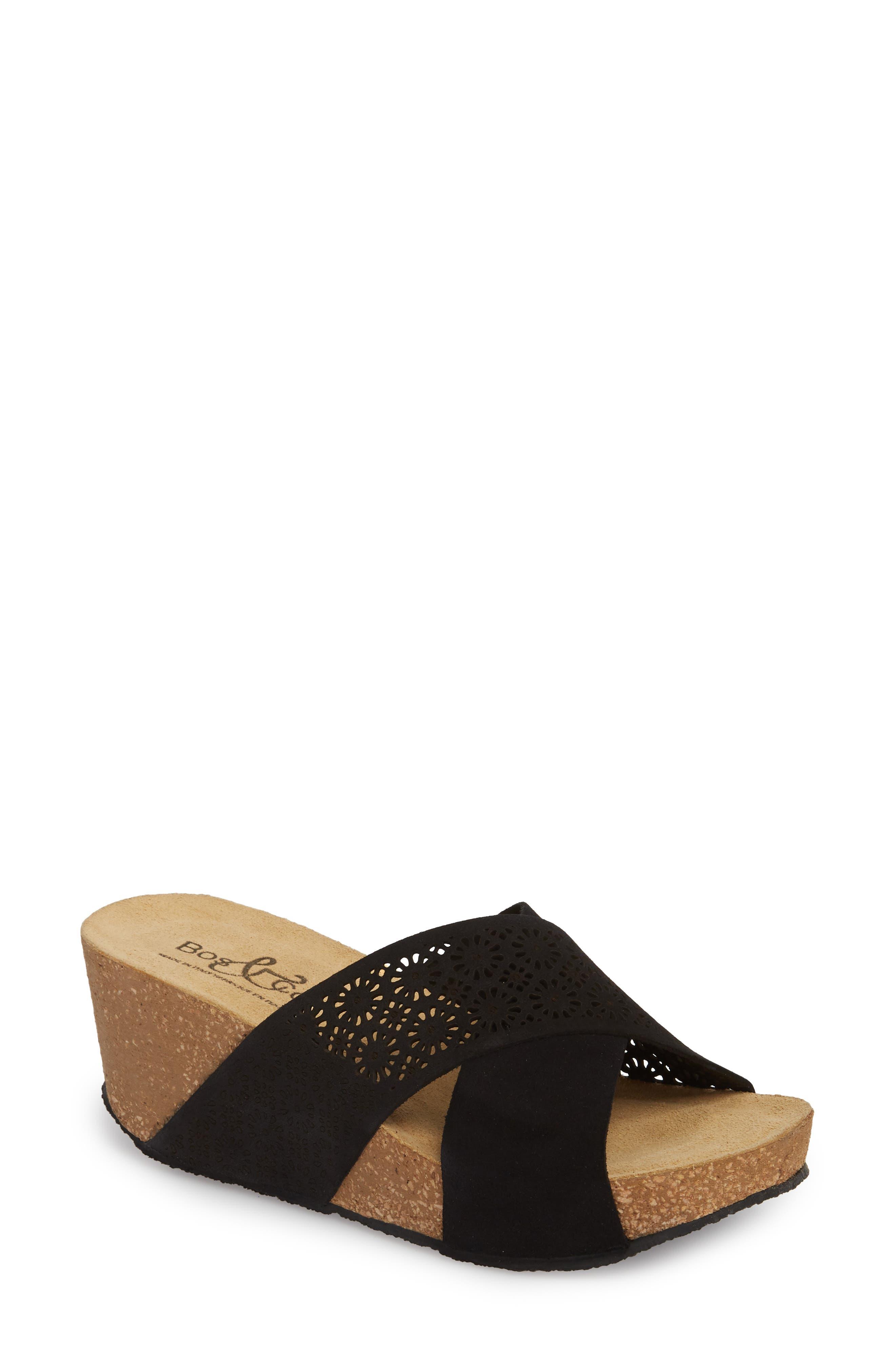 BOS. & CO. Lomi Platform Wedge Slide Sandal, Main, color, BLACK SUEDE