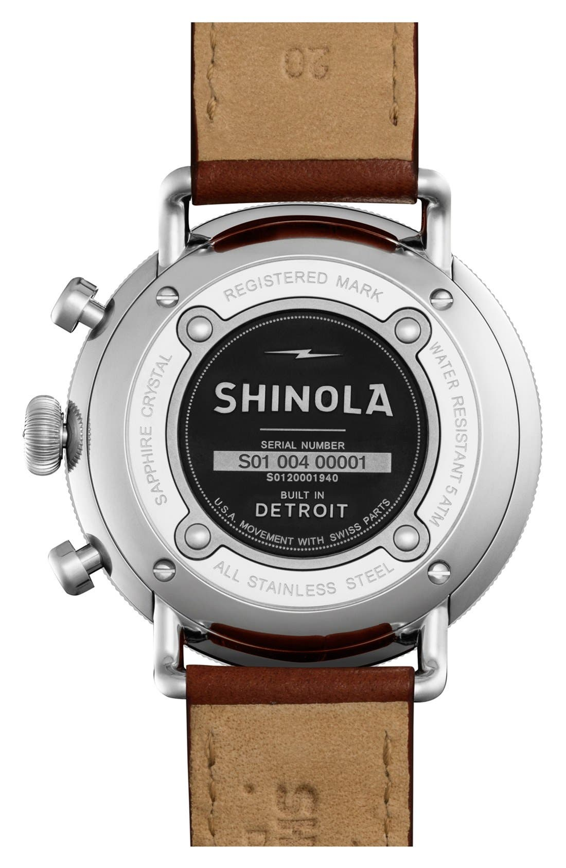 SHINOLA, The Canfield Chrono Leather Strap Watch, 43mm, Alternate thumbnail 2, color, DARK COGNAC/ MIDNIGHT BLUE