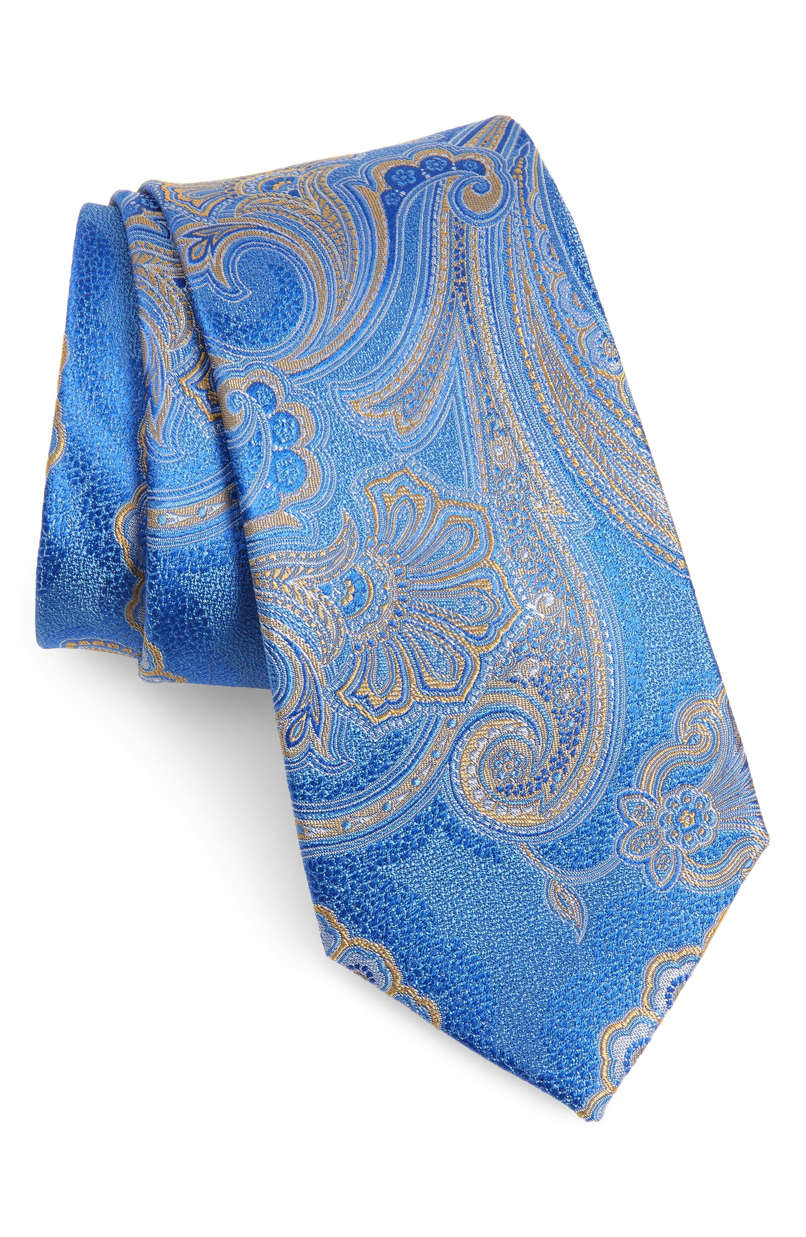 NORDSTROM MEN'S SHOP Meranda Paisley Silk Tie, Main, color, BLUE