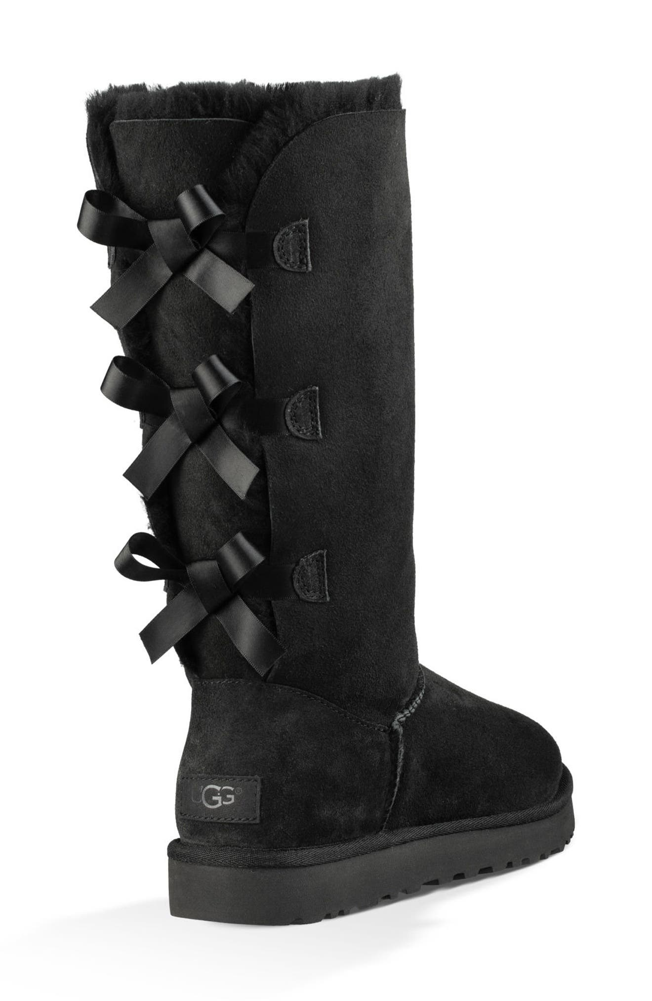 UGG<SUP>®</SUP>, Bailey Bow Tall II Boot, Alternate thumbnail 2, color, BLACK SUEDE