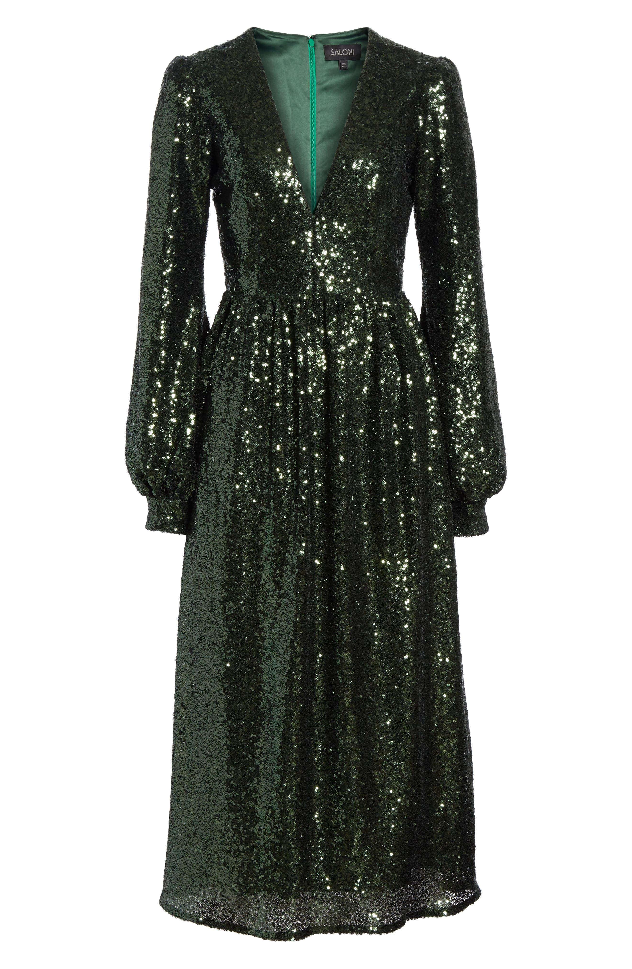 SALONI, Camille Sequin Midi Dress, Alternate thumbnail 7, color, DARK GREEN