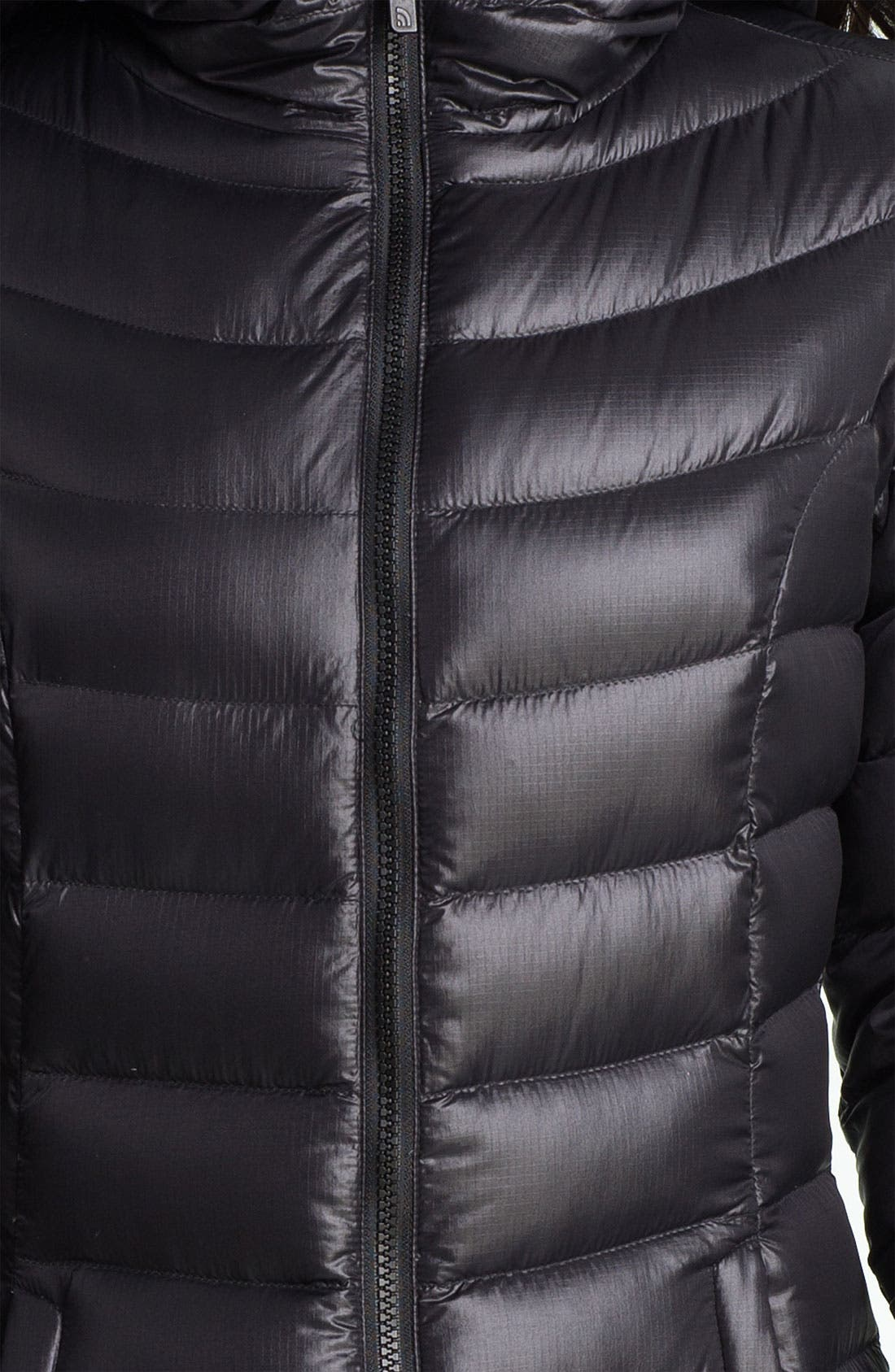 THE NORTH FACE, 'Jenae' Hooded Down Jacket, Alternate thumbnail 3, color, 001